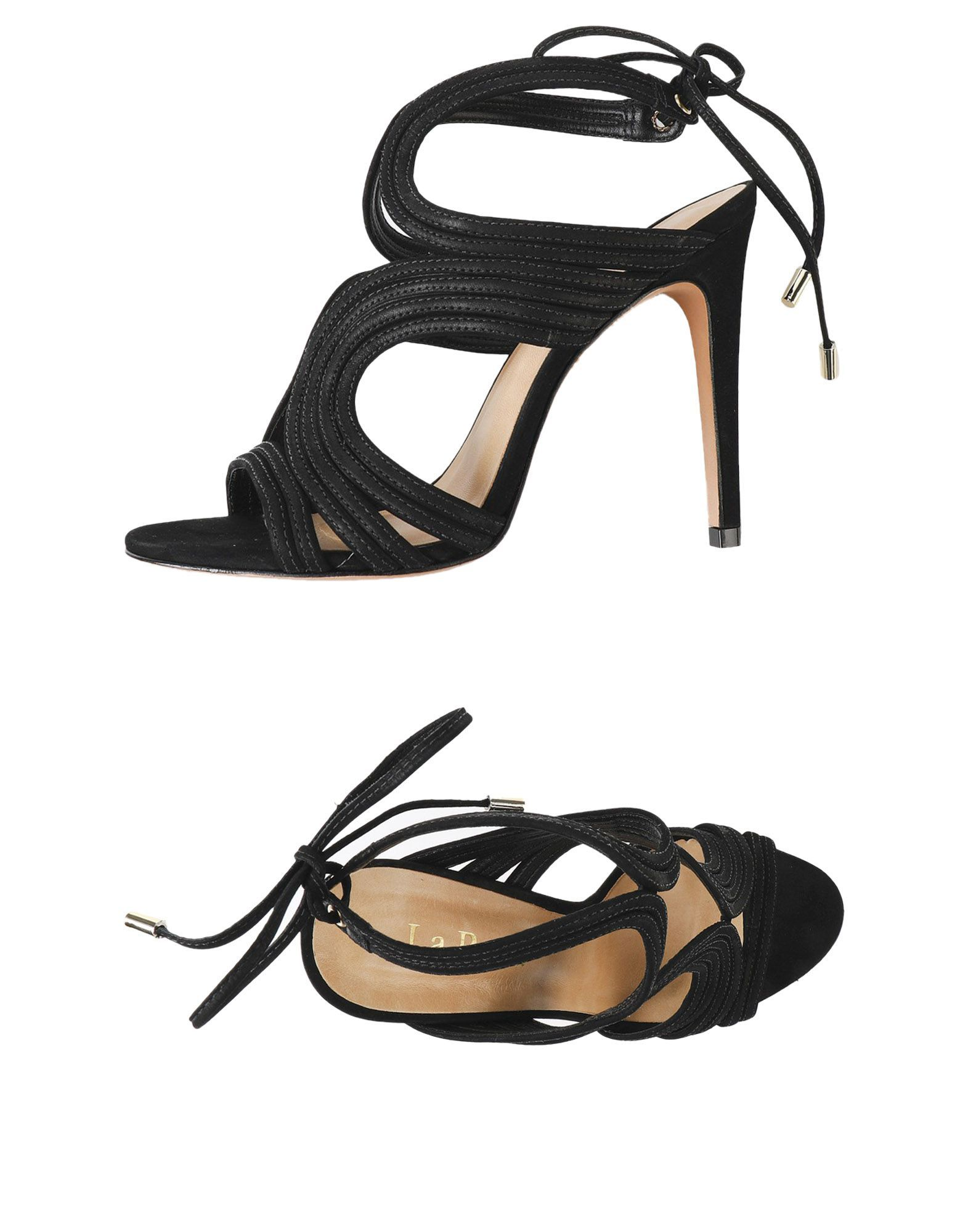 La Perla Black Leather Heeled Sandals