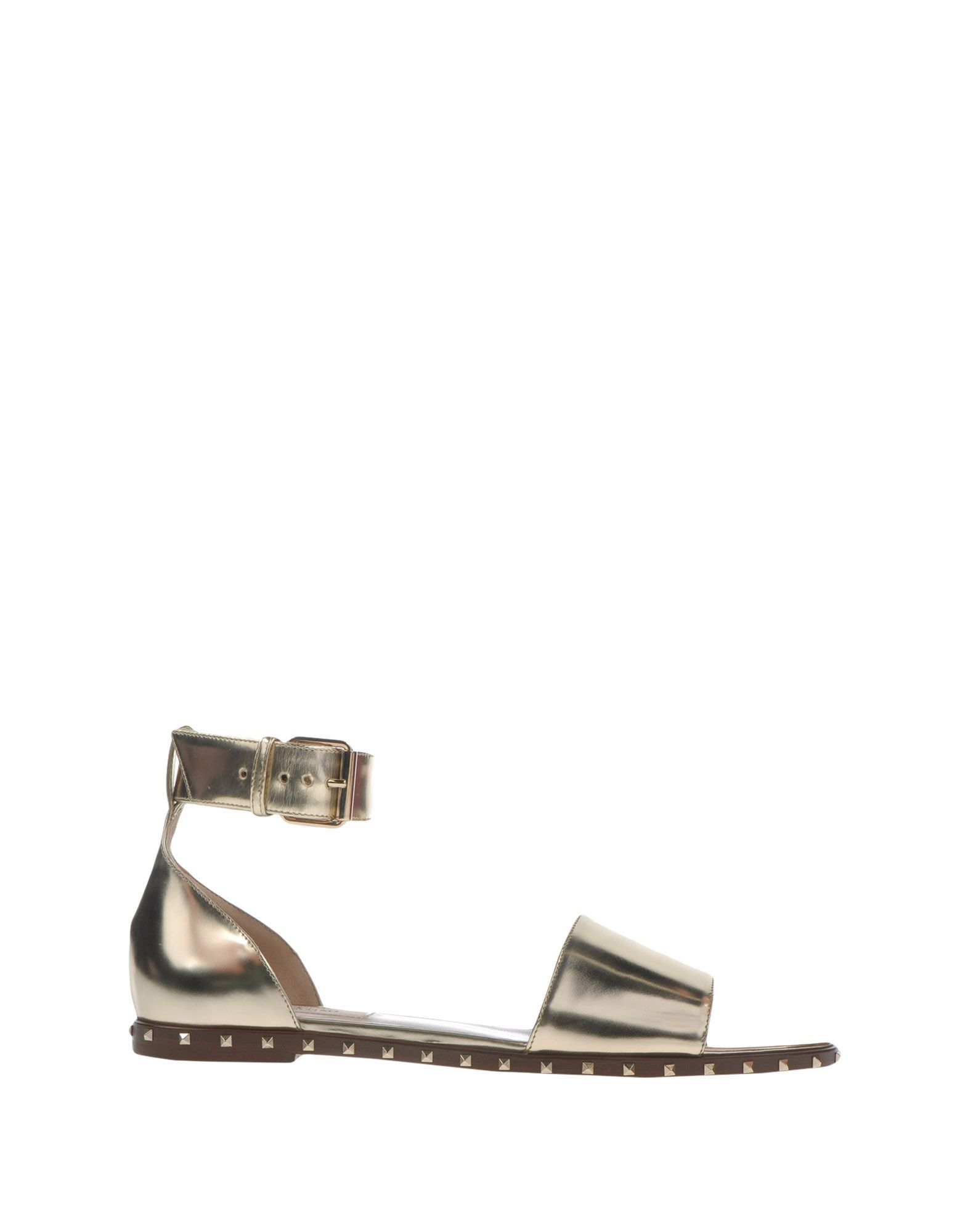 Valentino Garavani Platinum Leather Flat Sandals