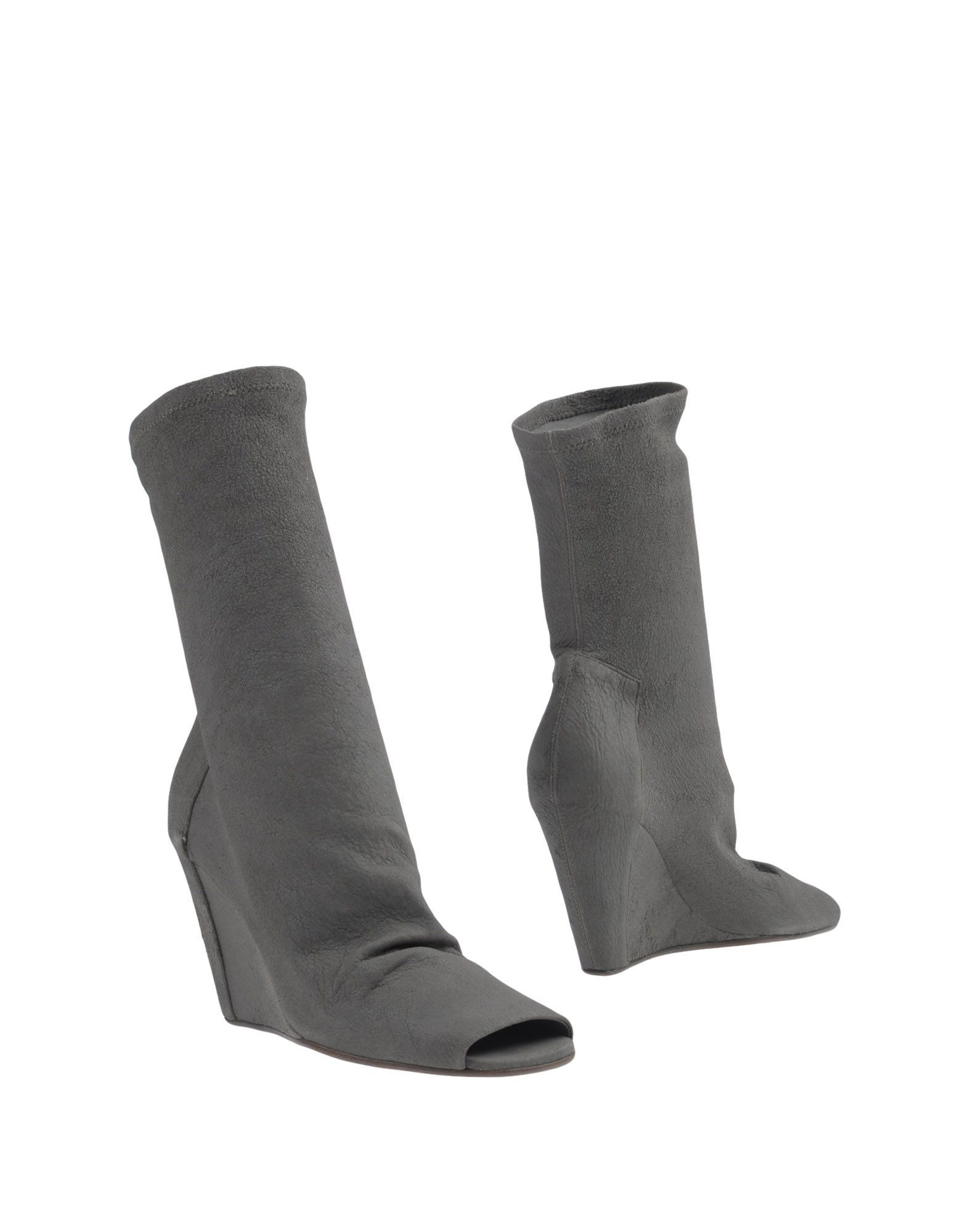 Rick Owens Grey Leather Peeptoe Ankle Boots