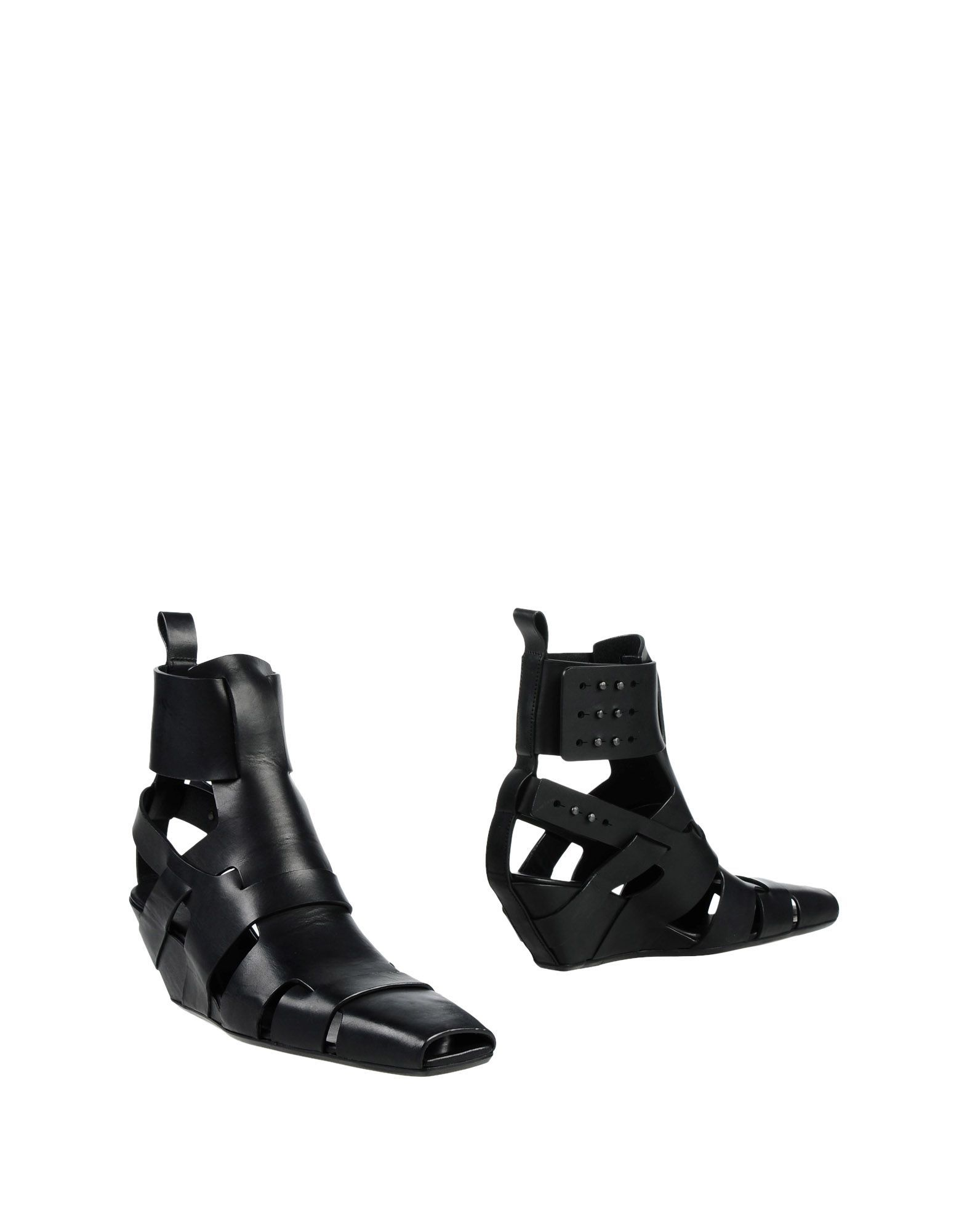 Rick Owens Black Leather Wedges