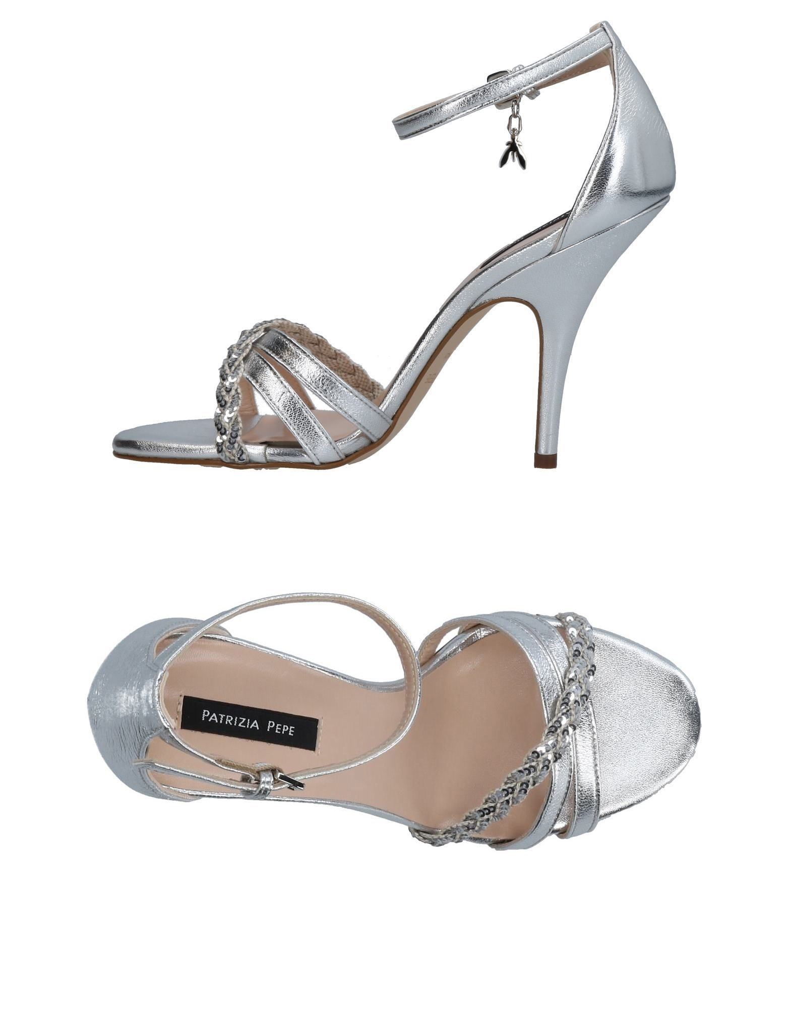 Patrizia Pepe Silver Leather Heeled Sandals