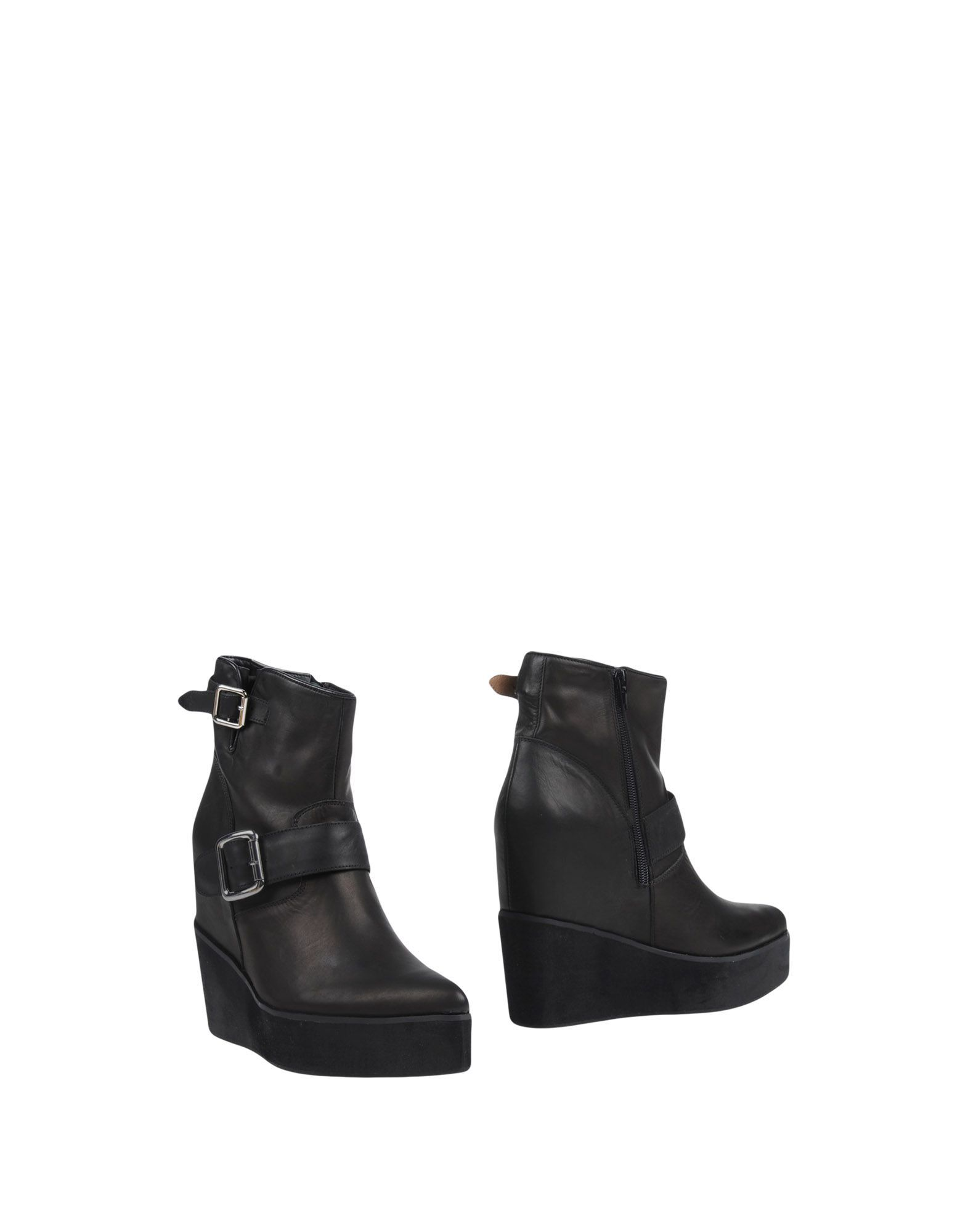 Jeffrey Campbell Black Leather Wedge Heel Boots