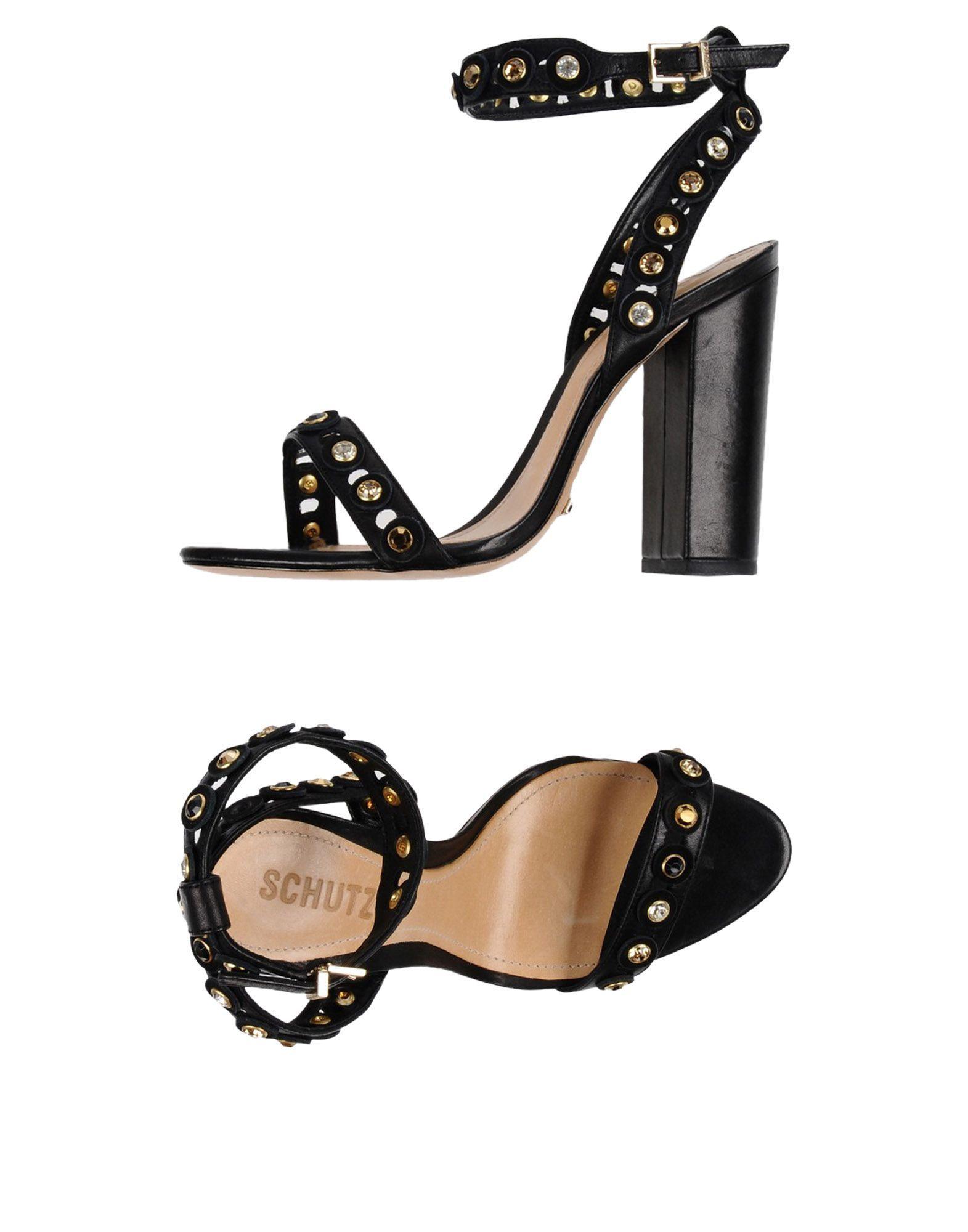 Schutz Black Leather Studded Heels