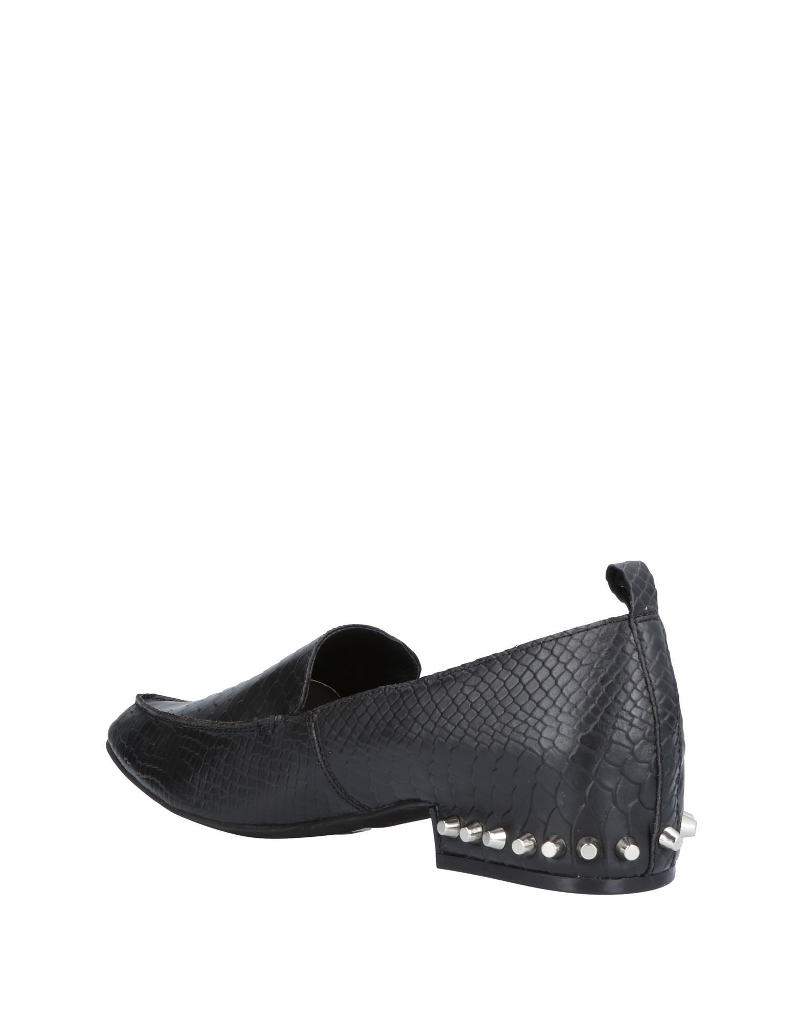 Jeffrey Campbell Black Calf Leather Studded Loafers