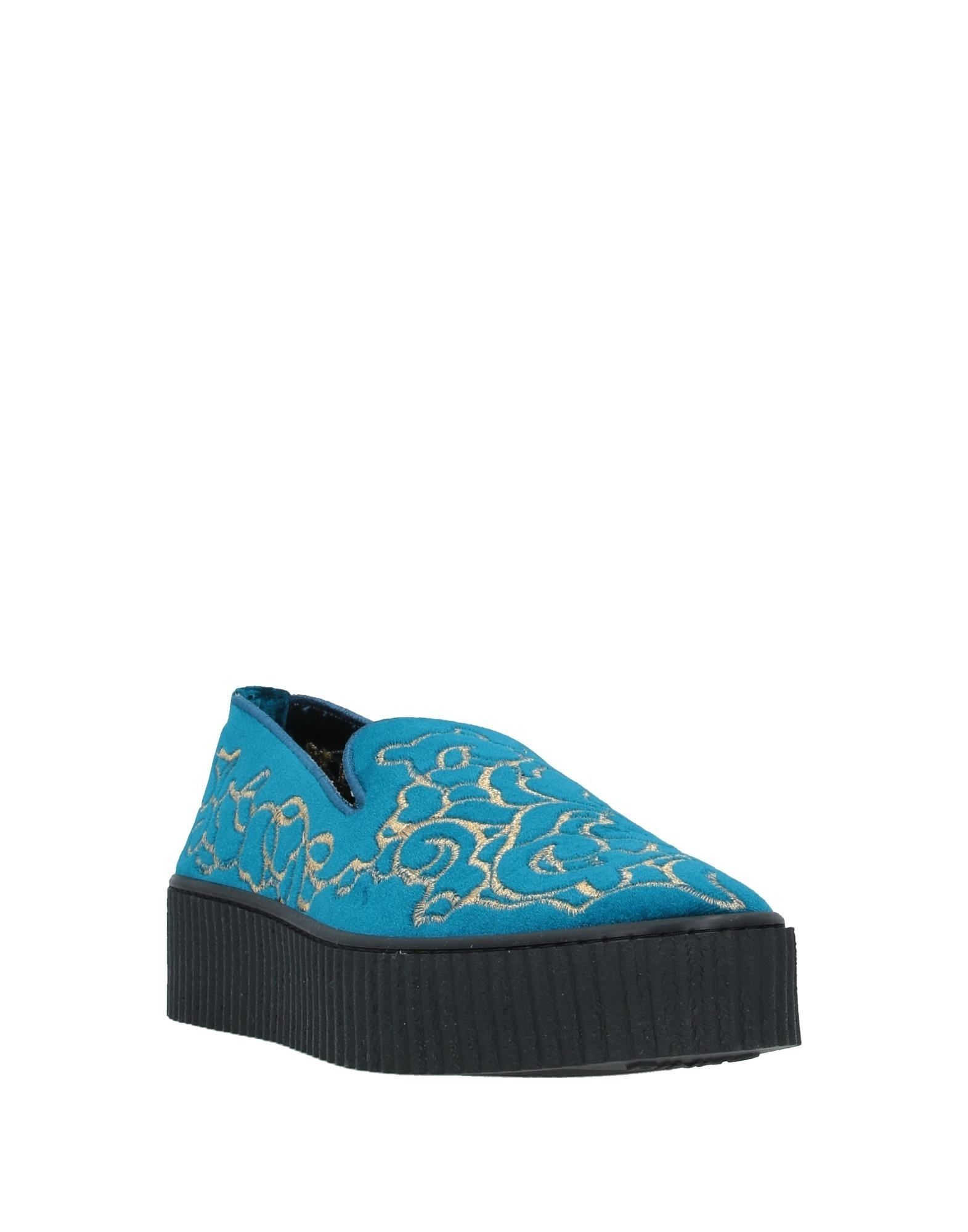Pinko Blue Velvet Slip On Loafers