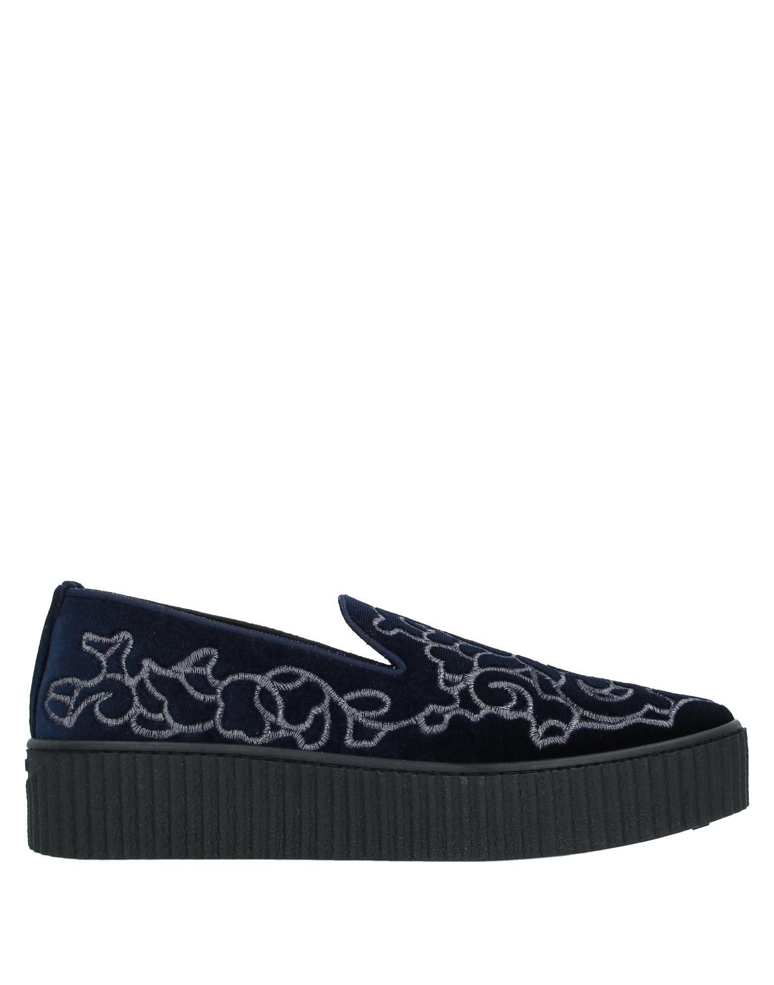 Pinko Dark Blue Velvet Embroidered Loafers