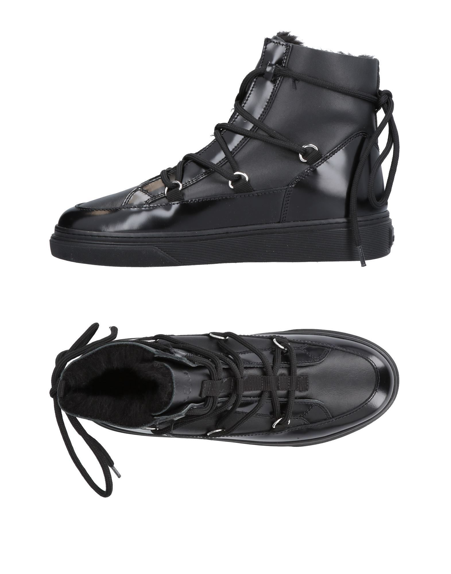 Hogan Black Leather Lace Up Boots