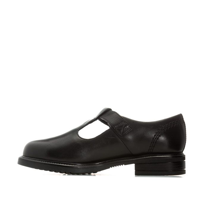 Girl's Kickers Children Lach T-Bar Leather Shoes in Black