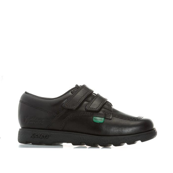 Boy's Kickers Childrens Fragma Lo Strap Leather Shoes in Black