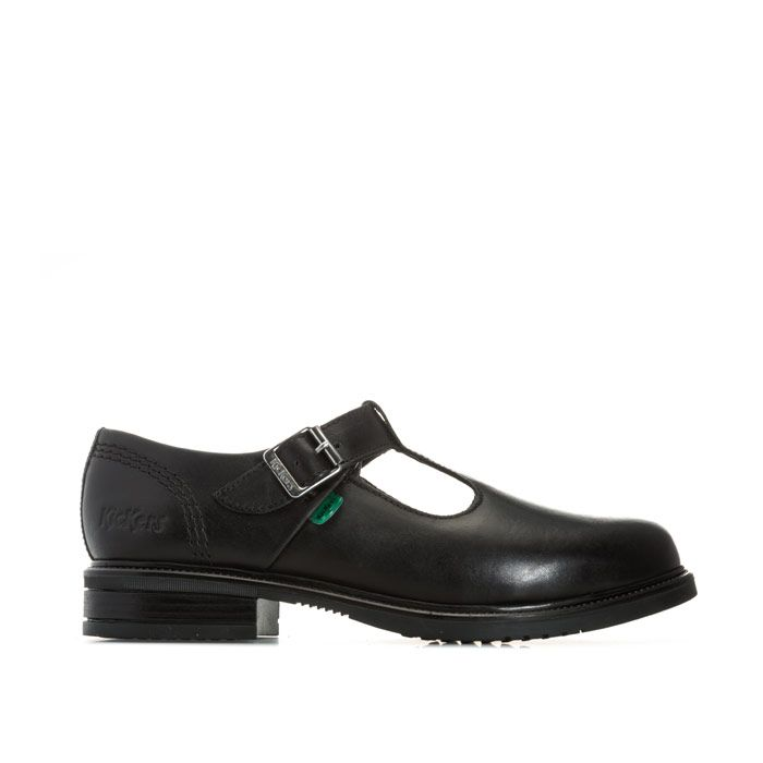 Girl's Kickers Junior Lach T-Bar Leather Shoes in Black