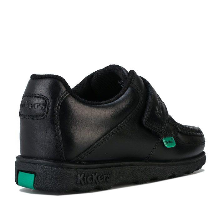 Boys' Kickers Children Fragma Lo Strap Leather Shoe in Black