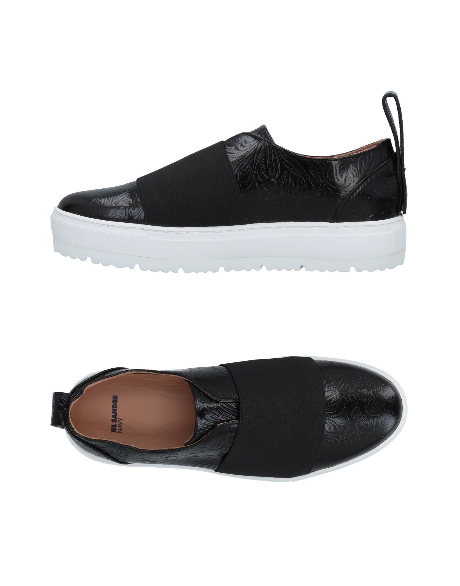 Jil Sander Navy Black Calf Leather Slip Ons