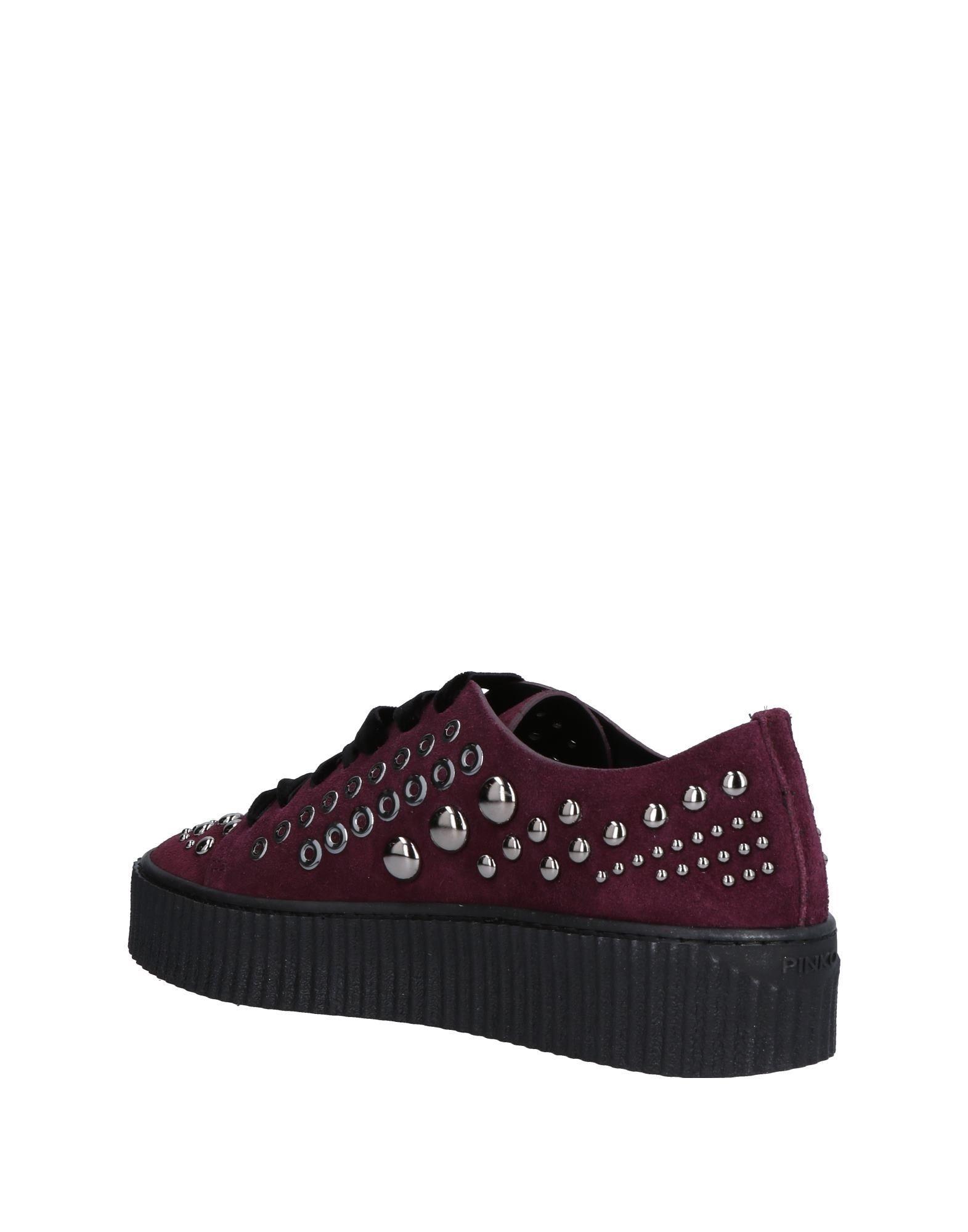 Pinko Deep Purple Leather Studded Sneakers