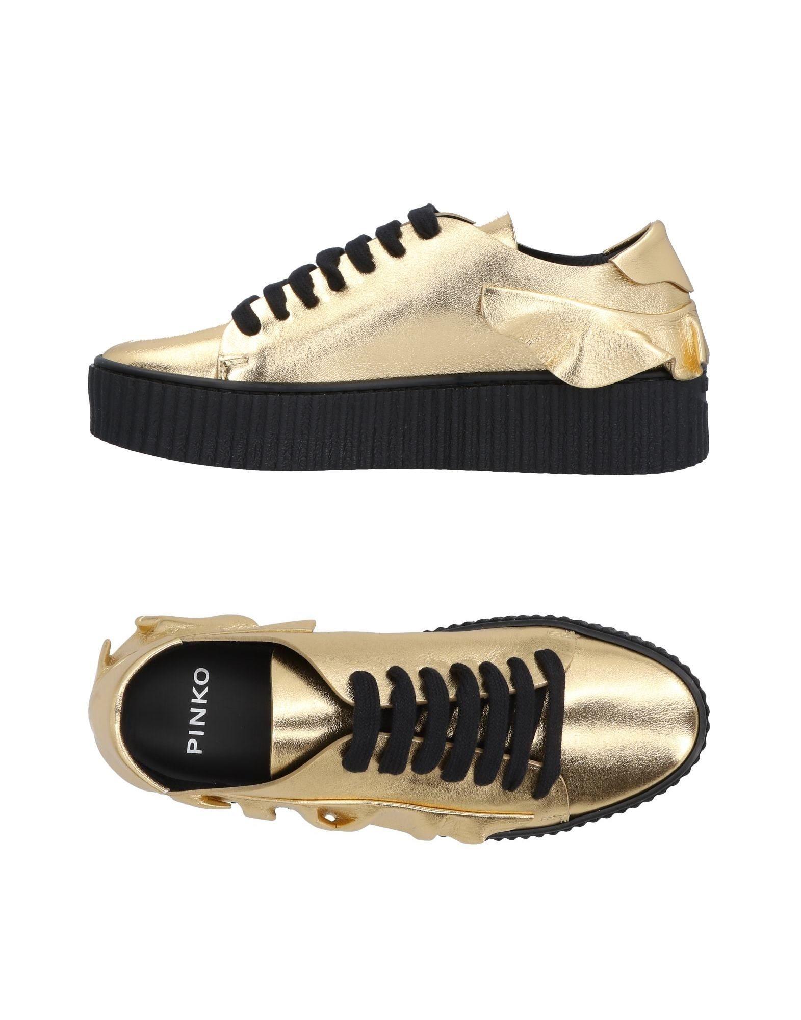 Pinko Gold Leather Ruffle Sneakers