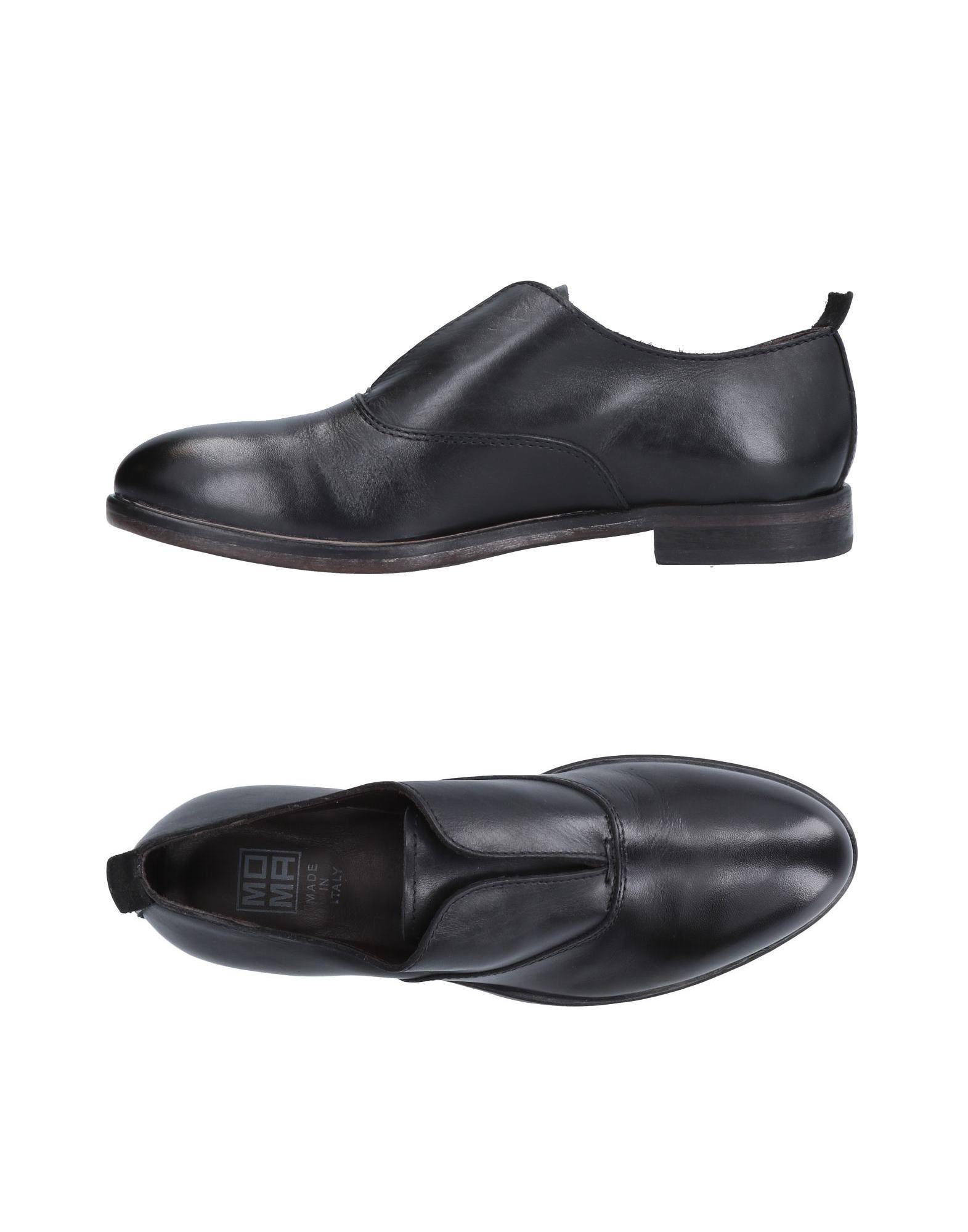 Moma Black Leather Slip Ons