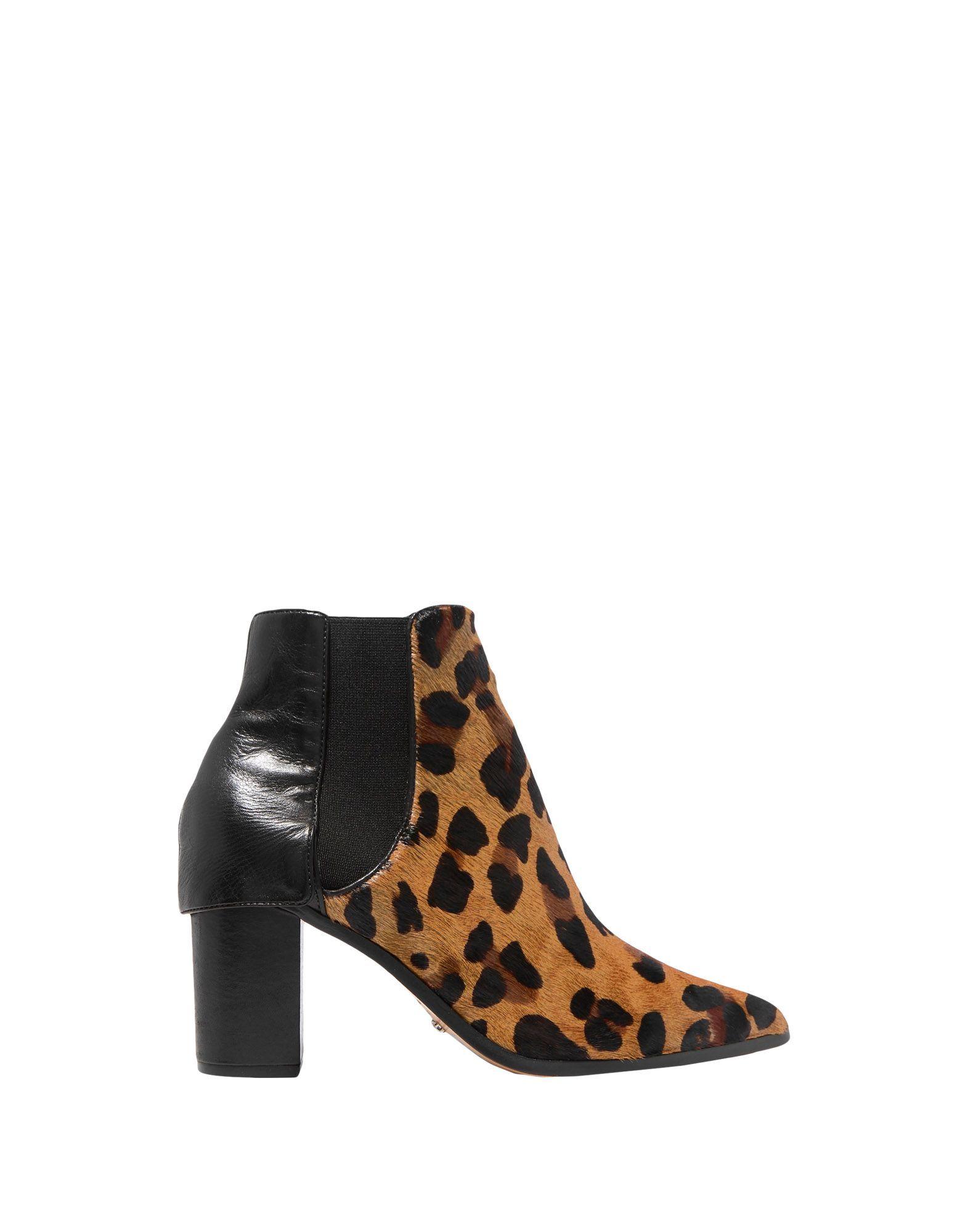 Schutz Camel Leopard Print Leather Ankle Boots