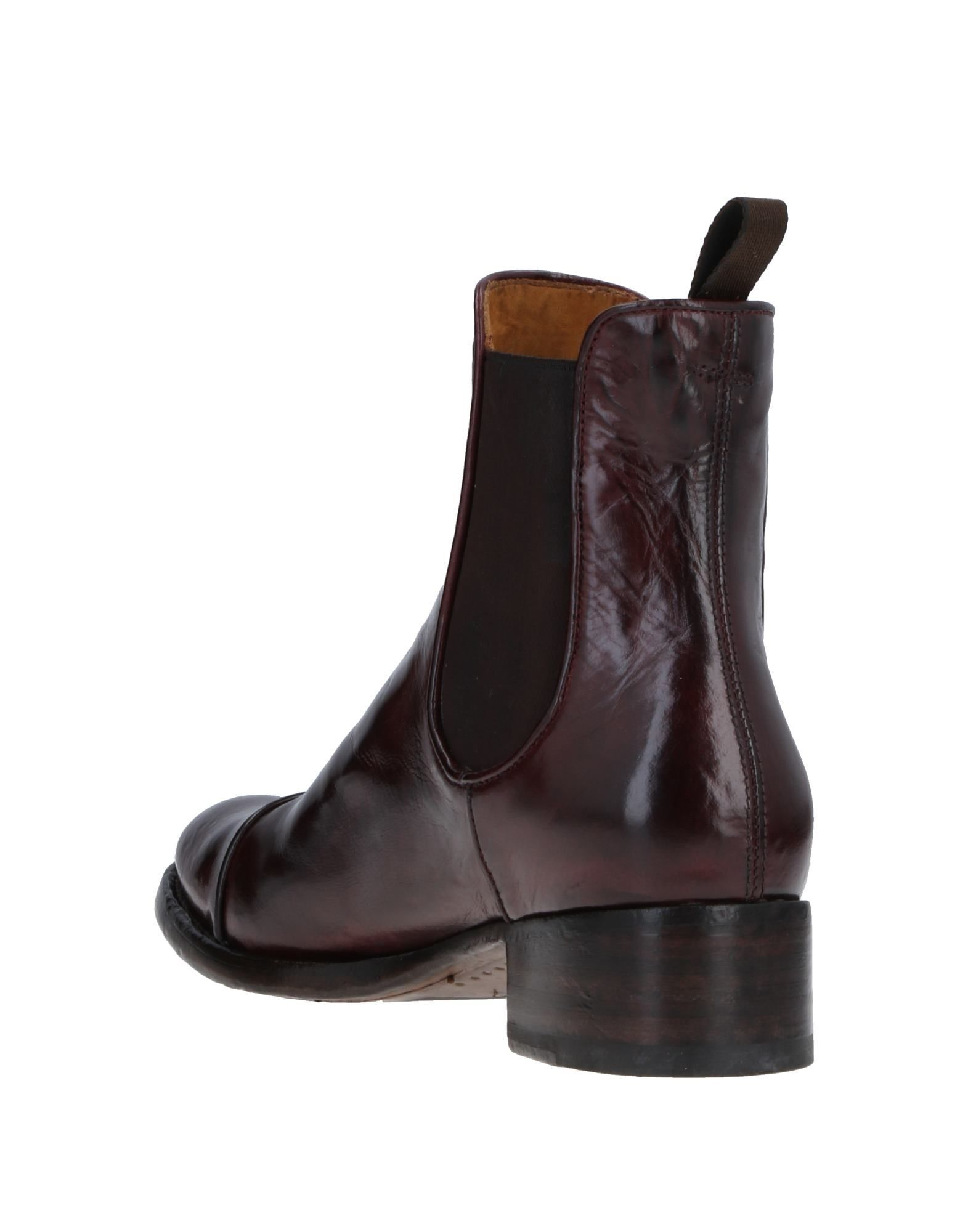 Officine Creative Italia Maroon Polished Leather Ankle Boots