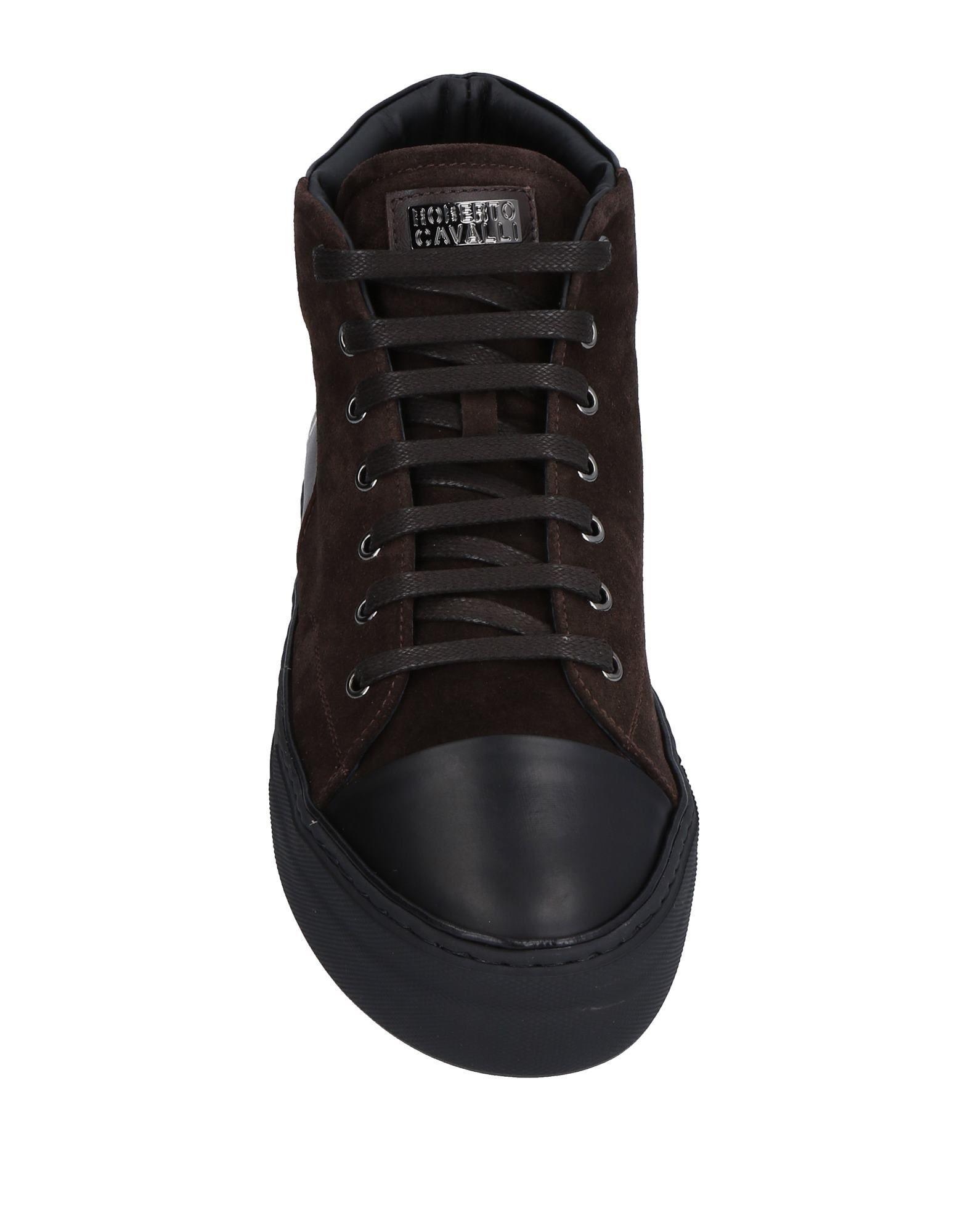 Roberto Cavalli Dark Brown Leather Sneakers