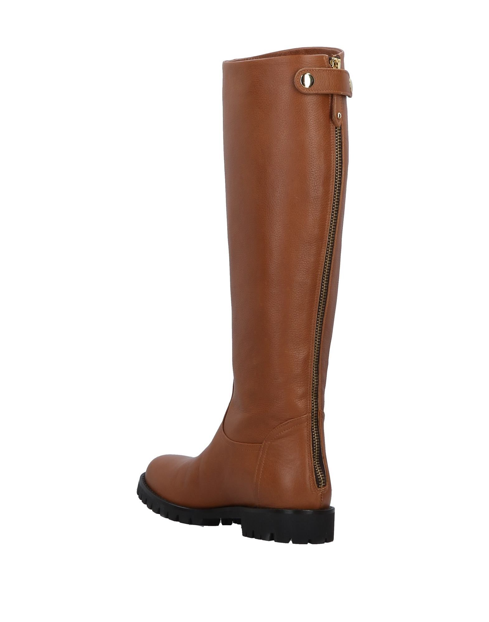 Bruglia Camel Leather Knee High Boots