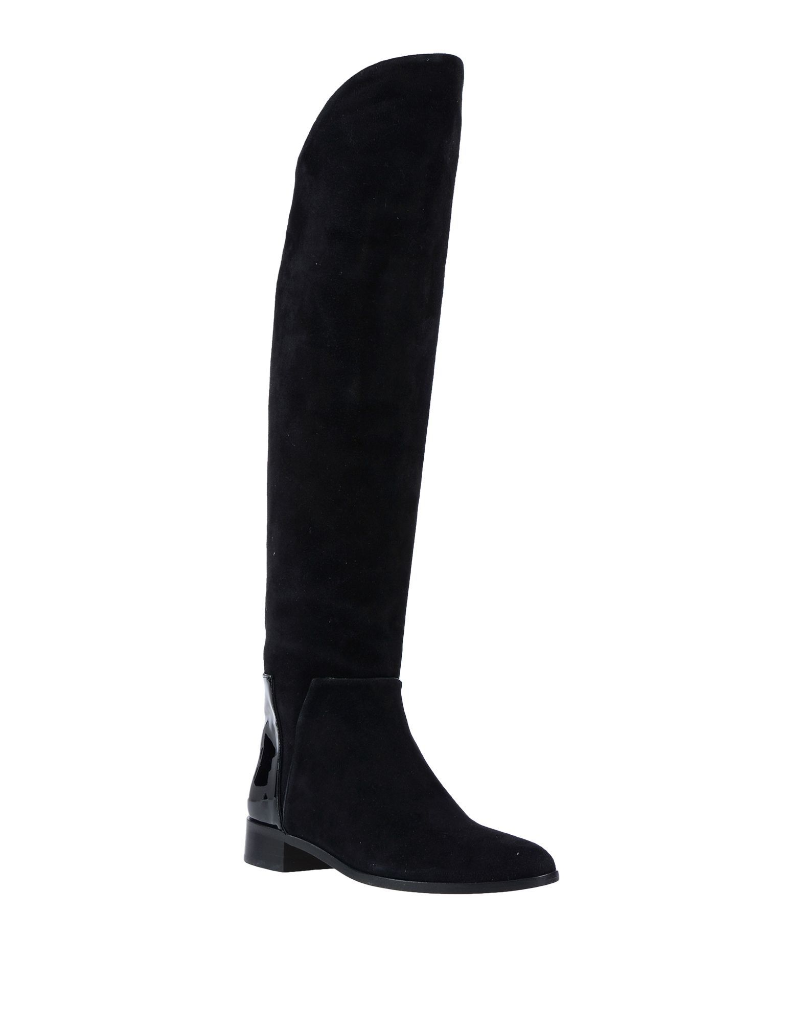 Charlotte Olympia Black Leather Knee High Boots