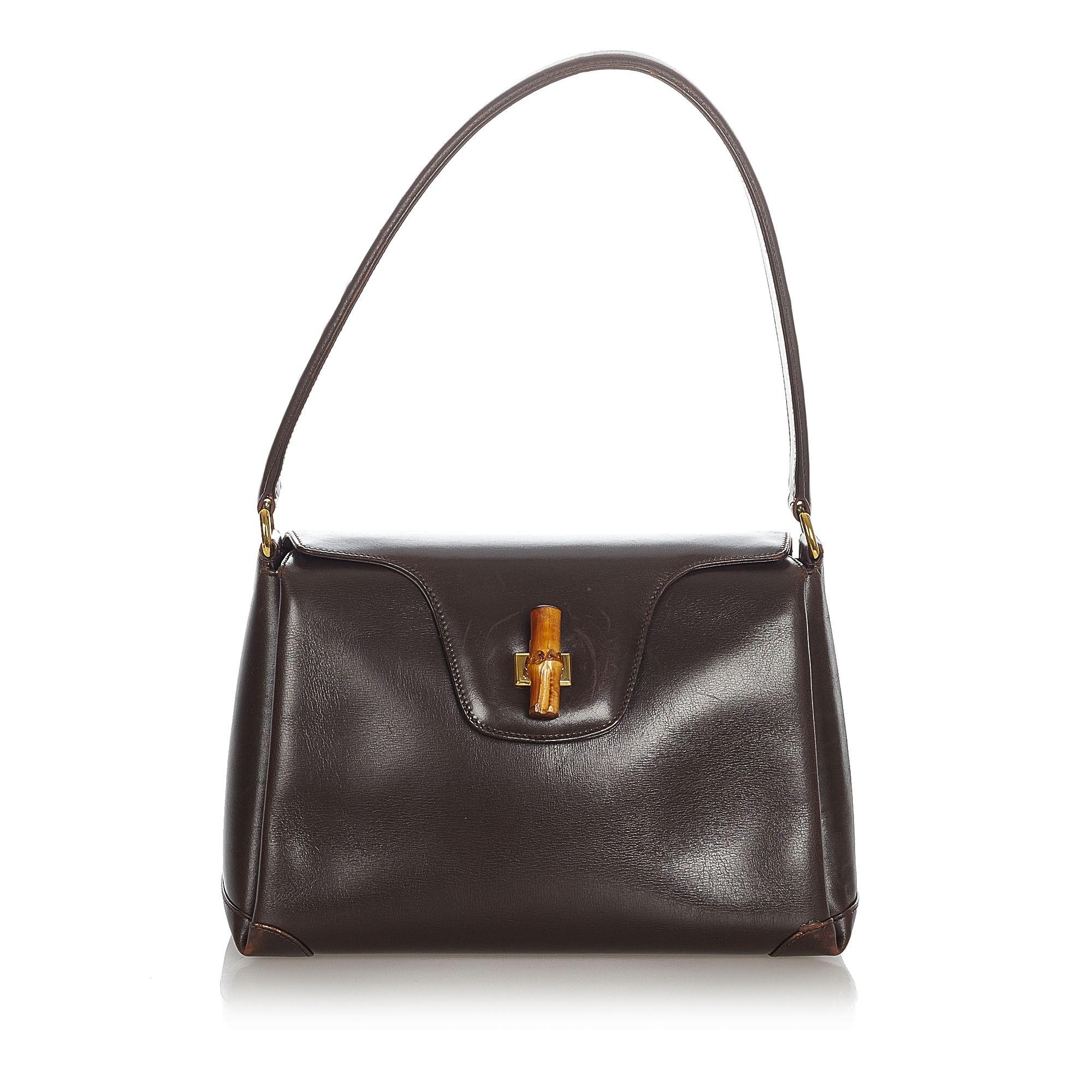 Vintage Gucci Bamboo Leather Handbag Brown