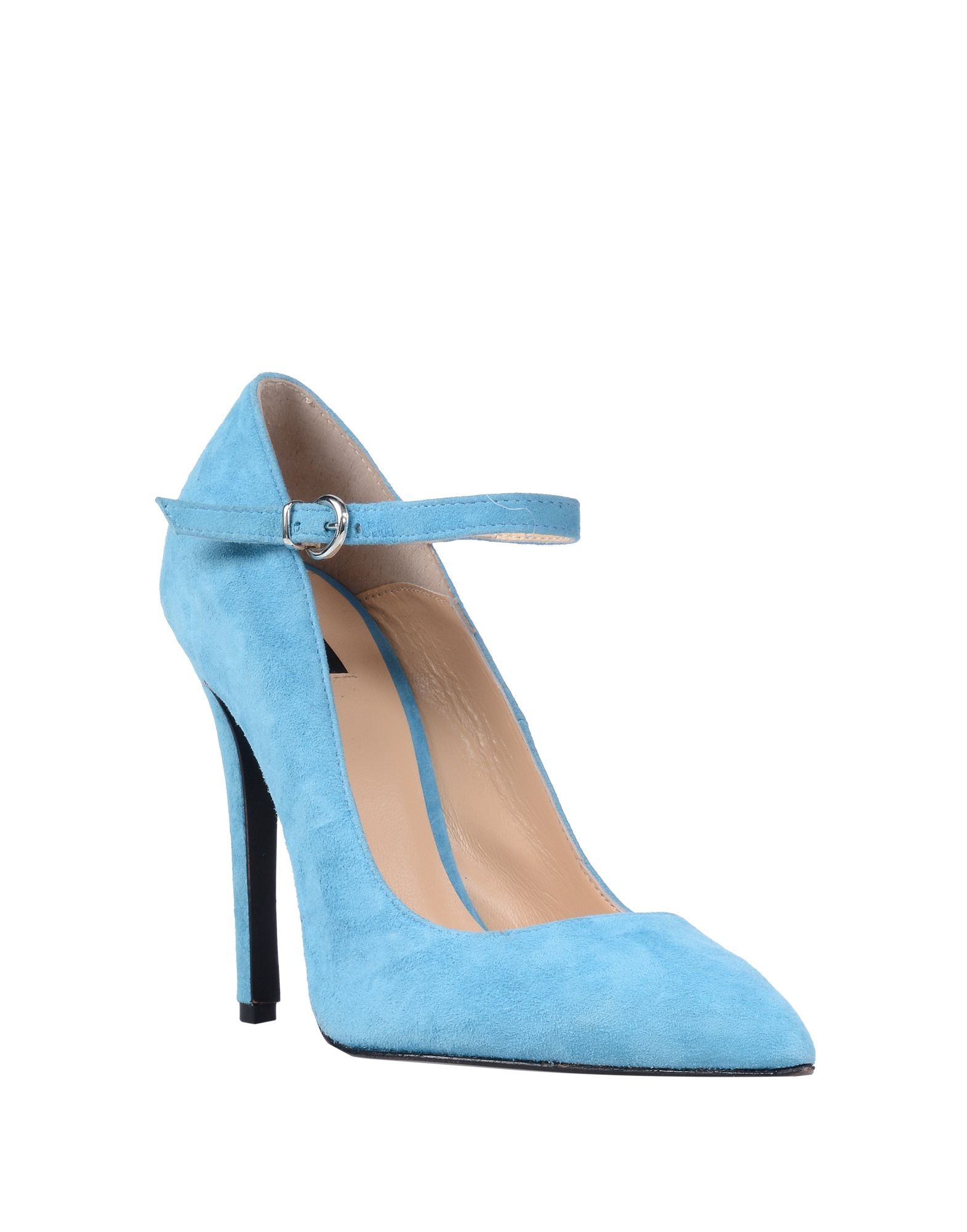 Pinko Sky Blue Leather Pointed Heels