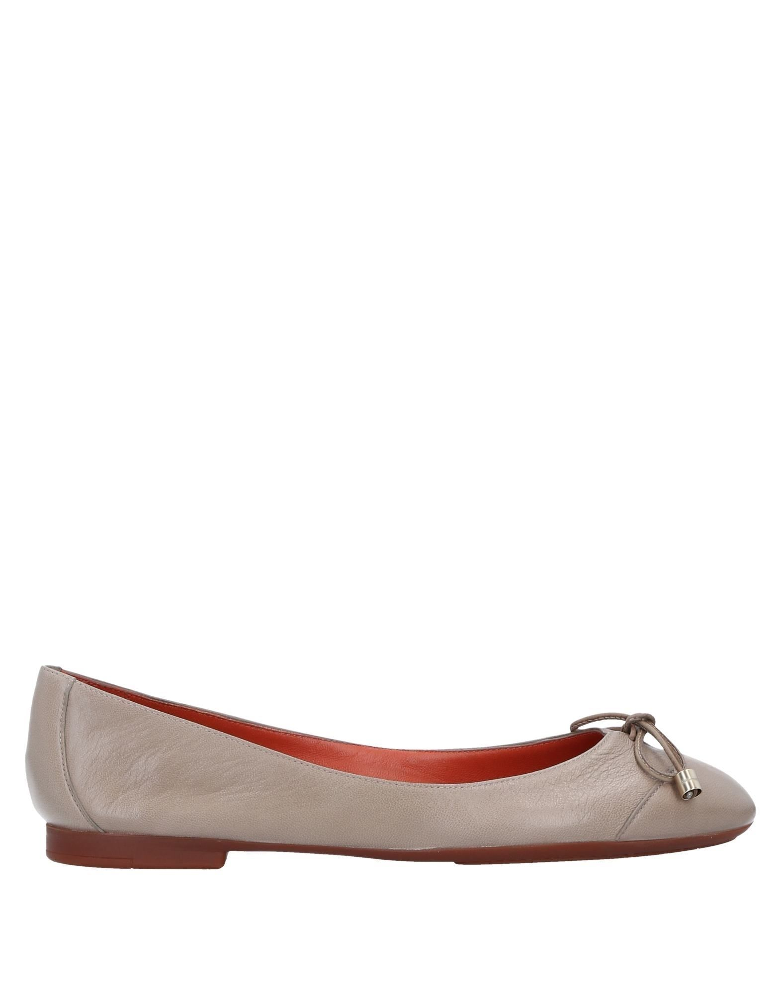 Santoni Dove Grey Leather Ballet Flats