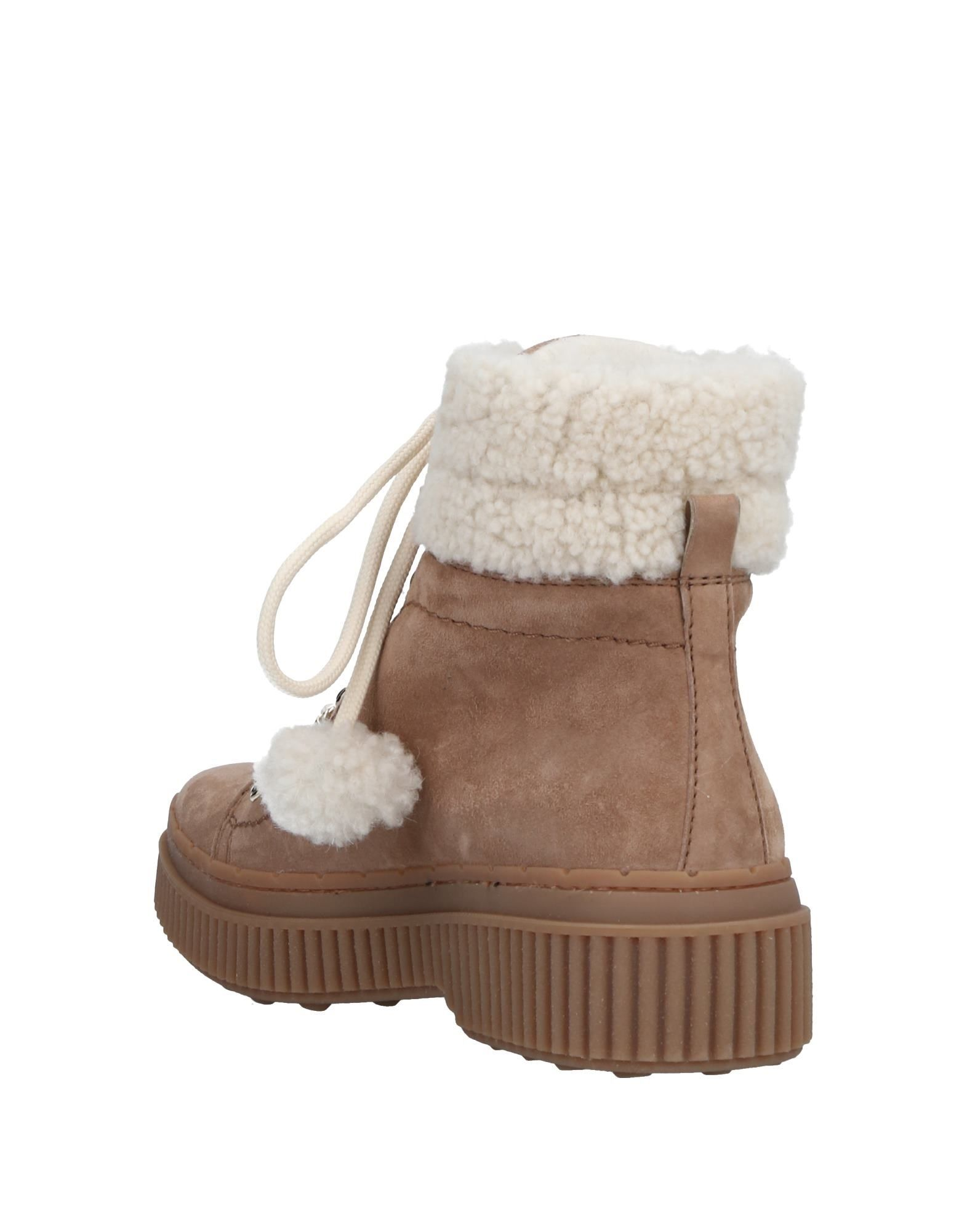 Tod's Khaki Suede Shearling Boots