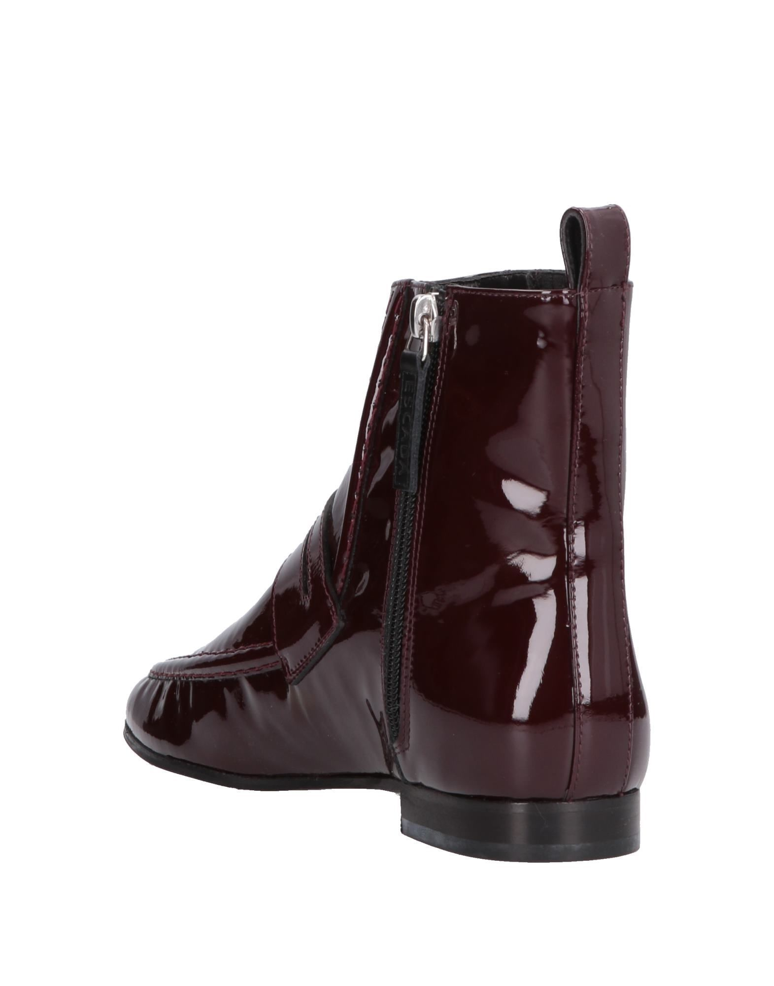 Escada Sport Maroon Calf Leather Ankle Boots