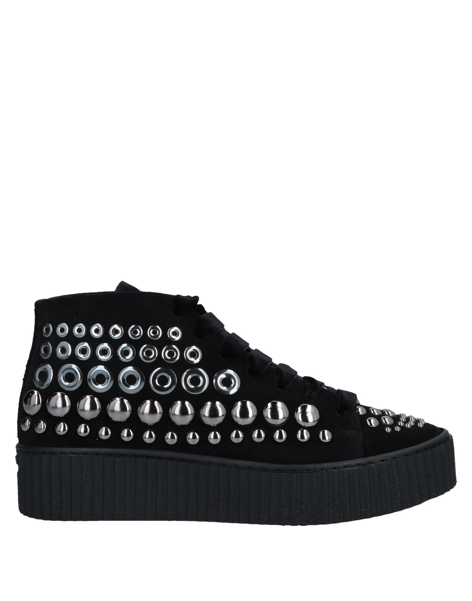 Pinko Black Leather Studded Sneakers