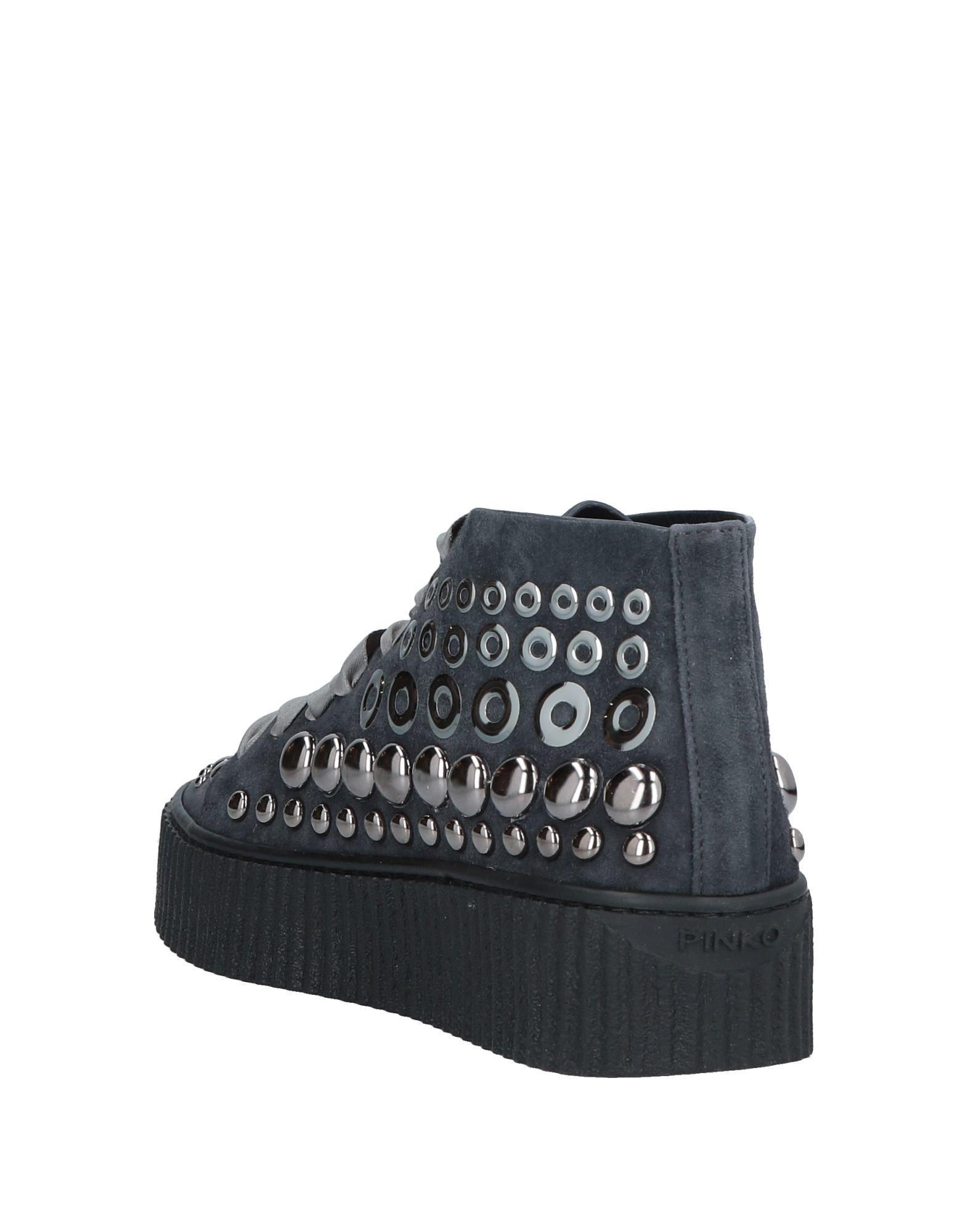 Pinko Steel Grey Leather Studded Sneakers