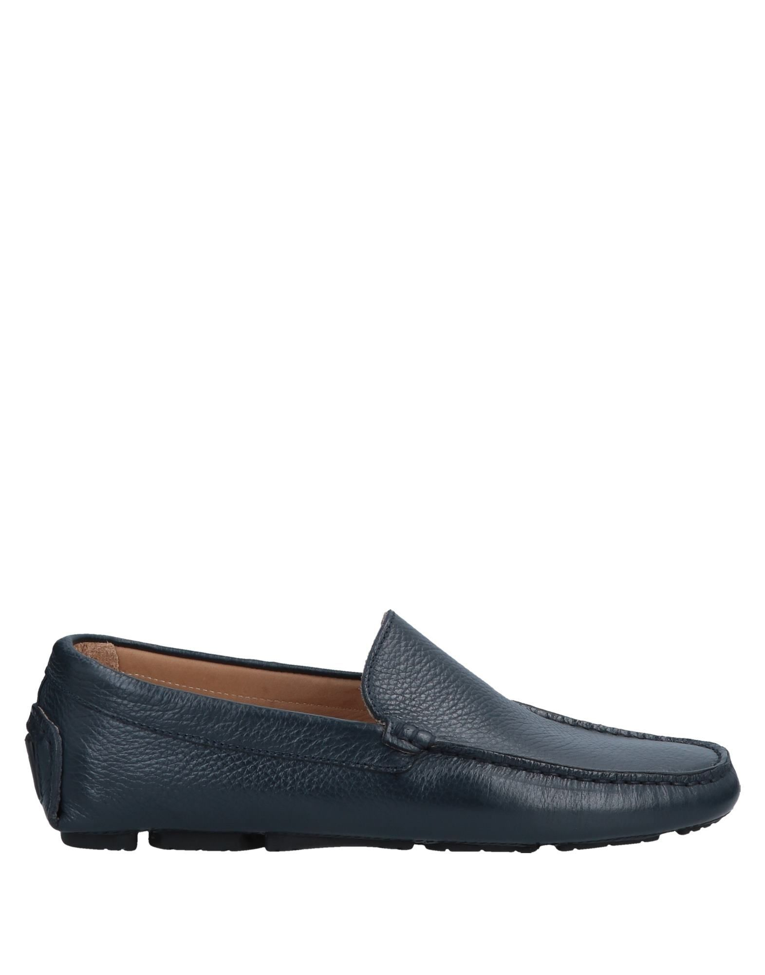 Doucal's Dark Blue Textured Leather Loafers