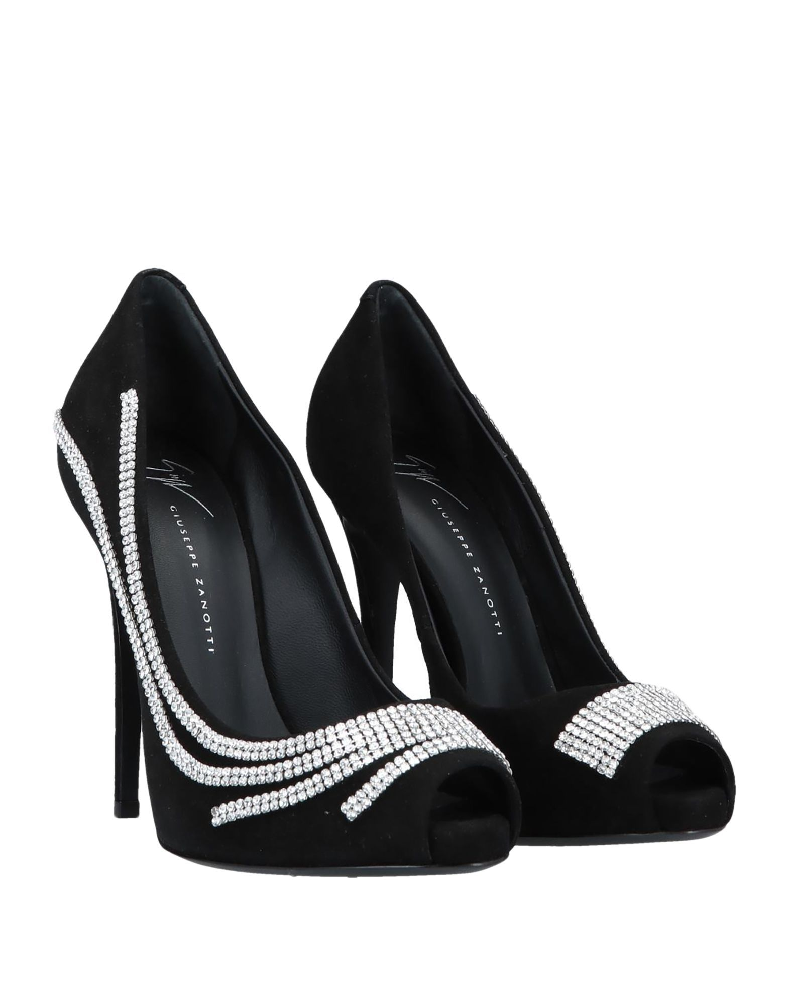 Giuseppe Zanotti Black Leather Peeptoe Heels