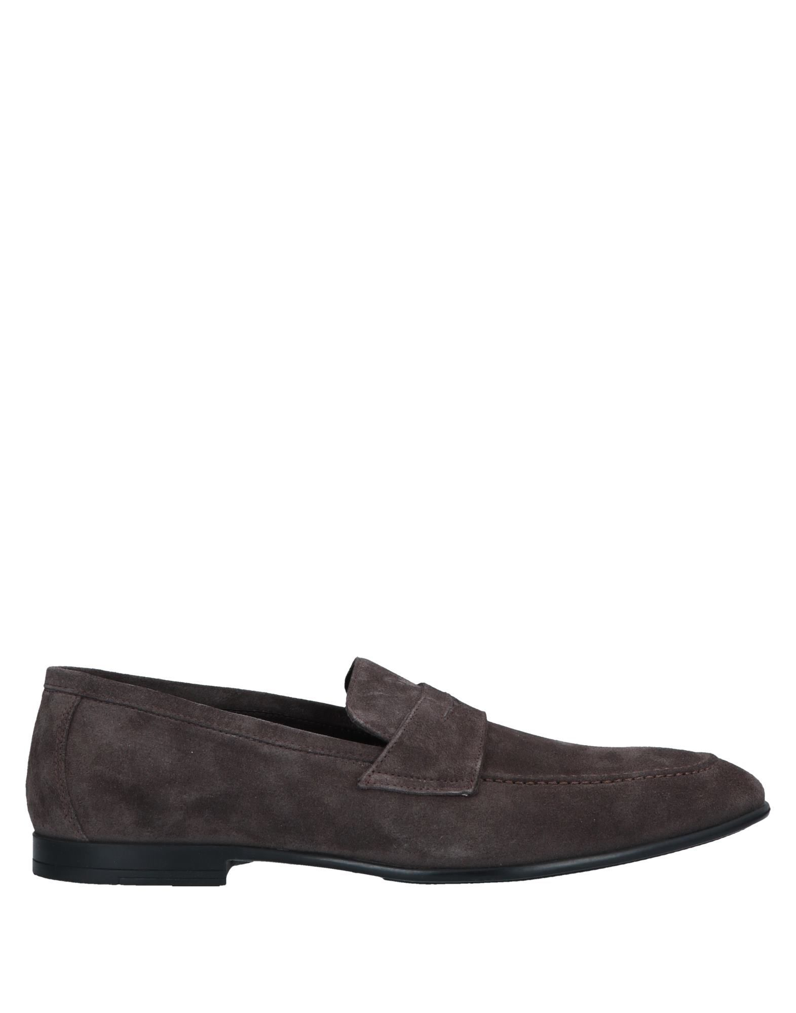 Doucal's Steel Grey Leather Loafers