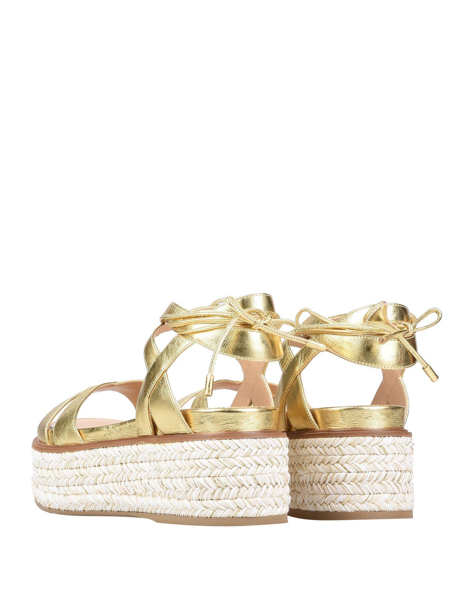 Sergio Rossi Gold Leather Espadrille Sandals