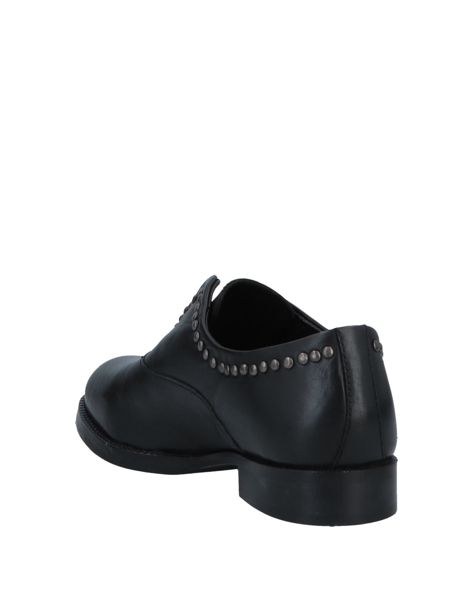 Cafenoir Black Leather Studded Flat Shoes