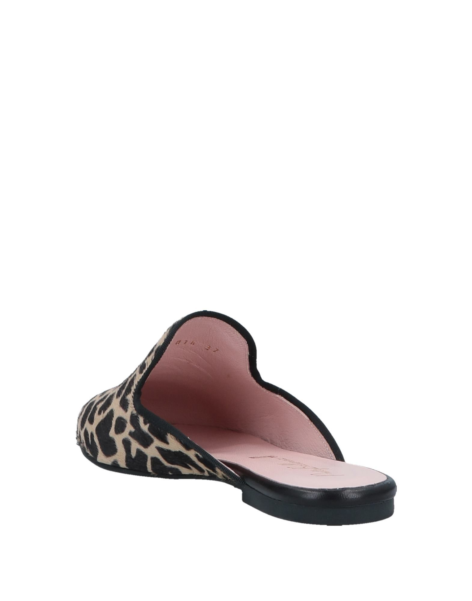 Pretty Ballerinas Dark Brown Print Leather Mules