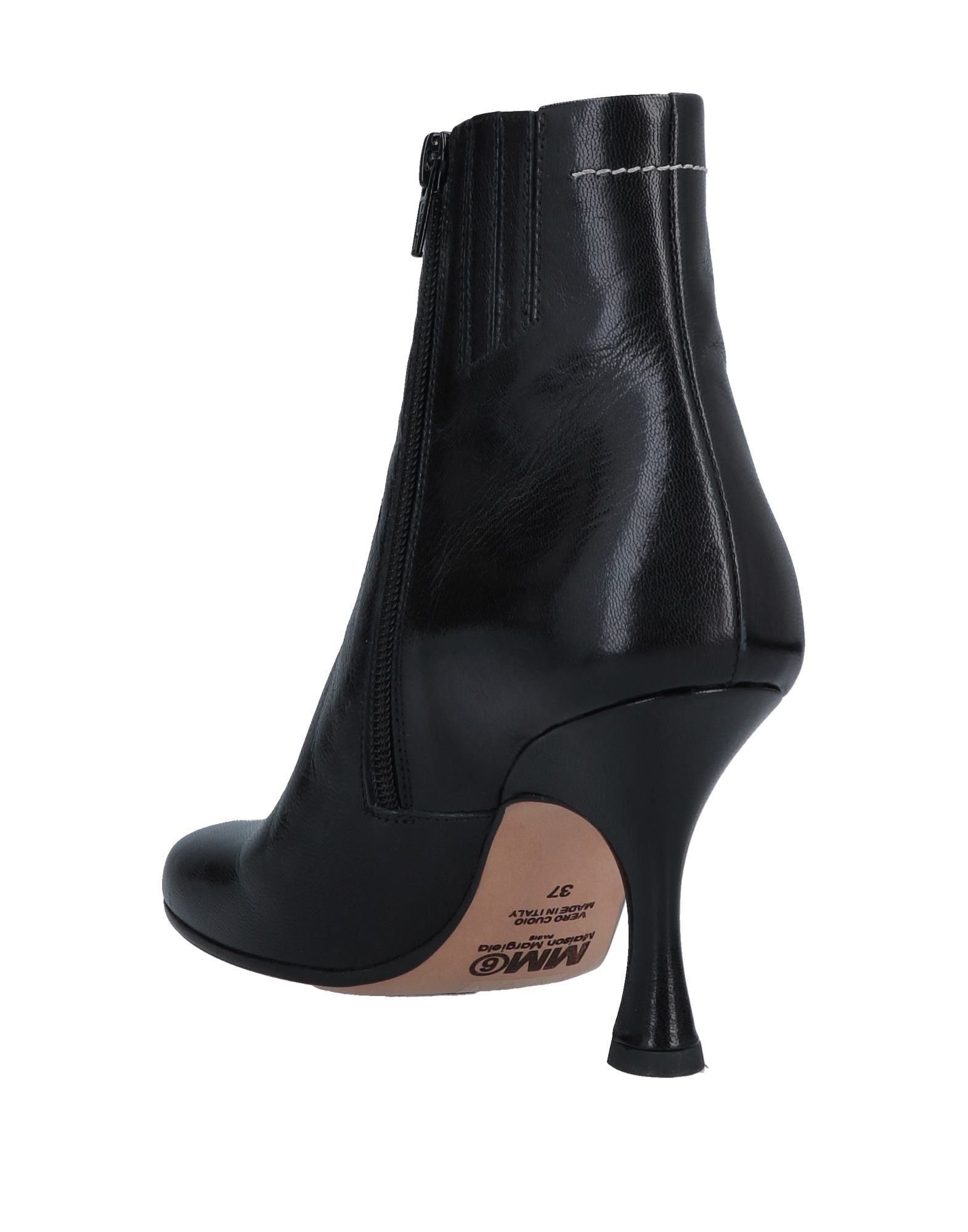 MM6 Maison Margiela Black Leather Ankle Boots