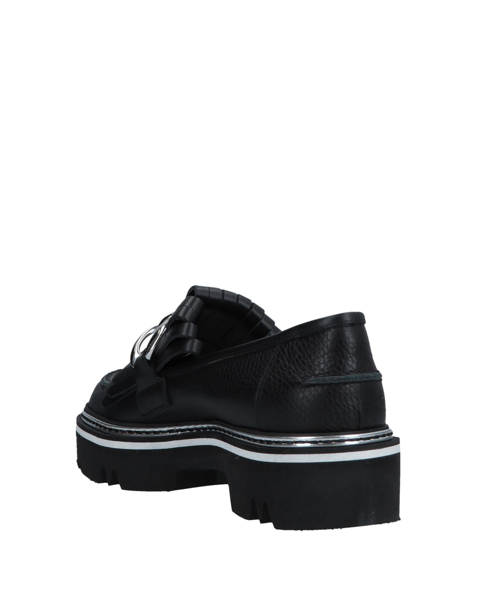 Pollini Black Calf Leather Loafers