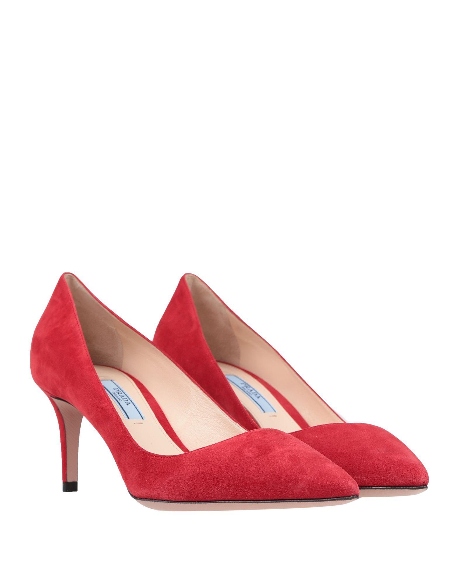 Prada Red Leather Court Shoe Heels