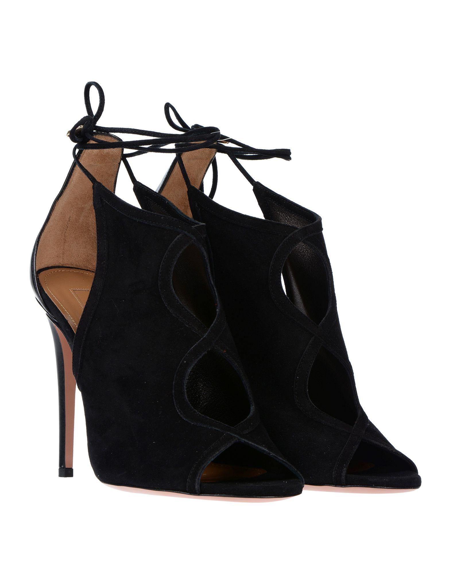 Aquazzura Black Suede Peeptoe Heels