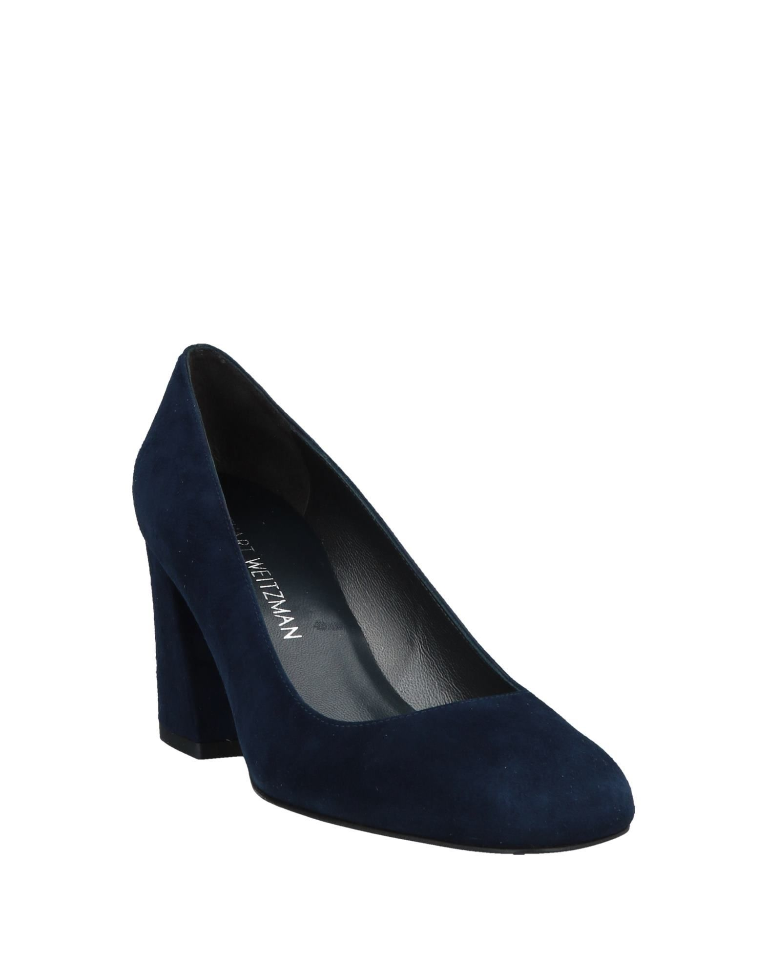 Stuart Weitzman Dark Blue Leather Court Shoe Heels