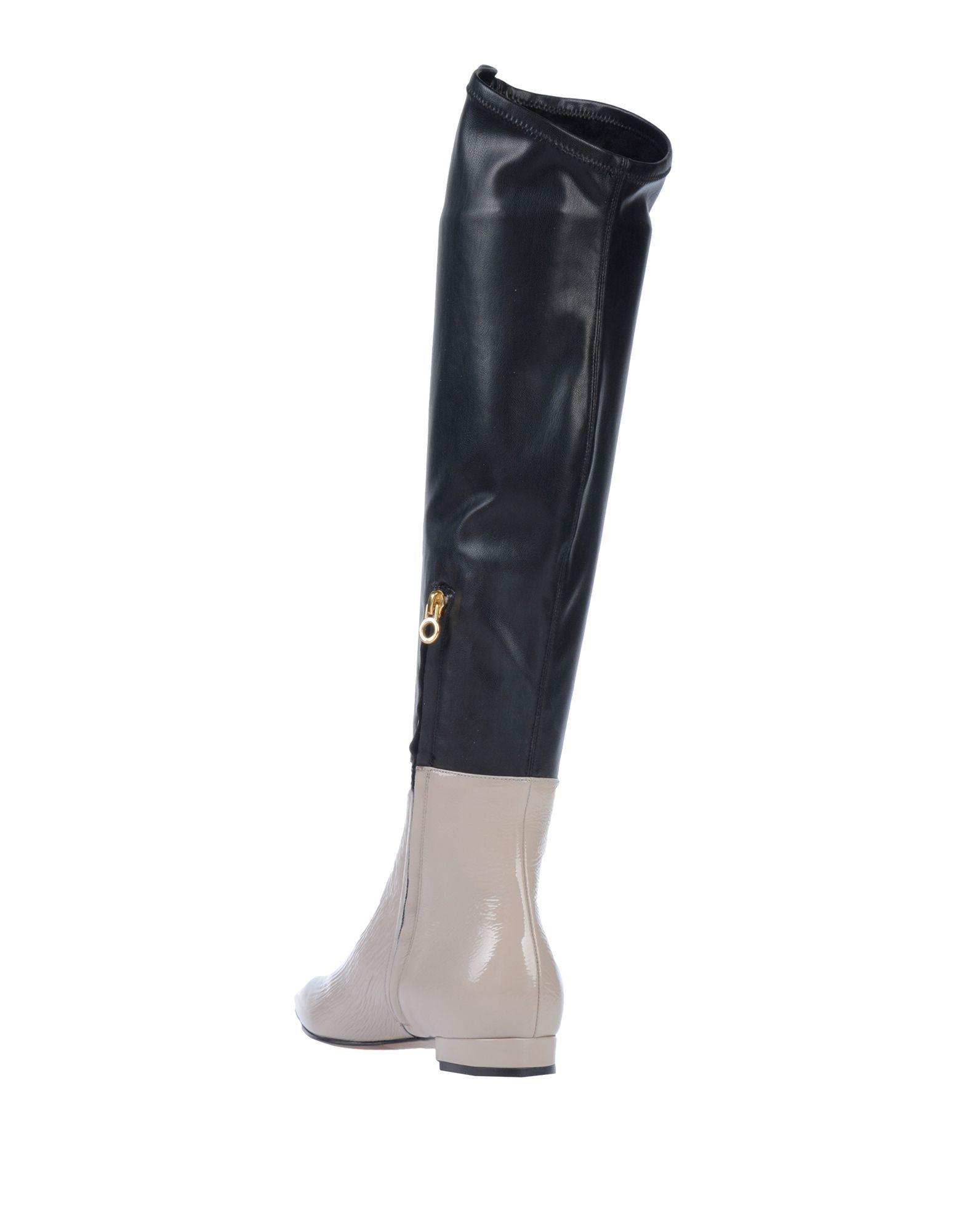 L' Autre Chose Dove Grey Colourblock Leather Boots
