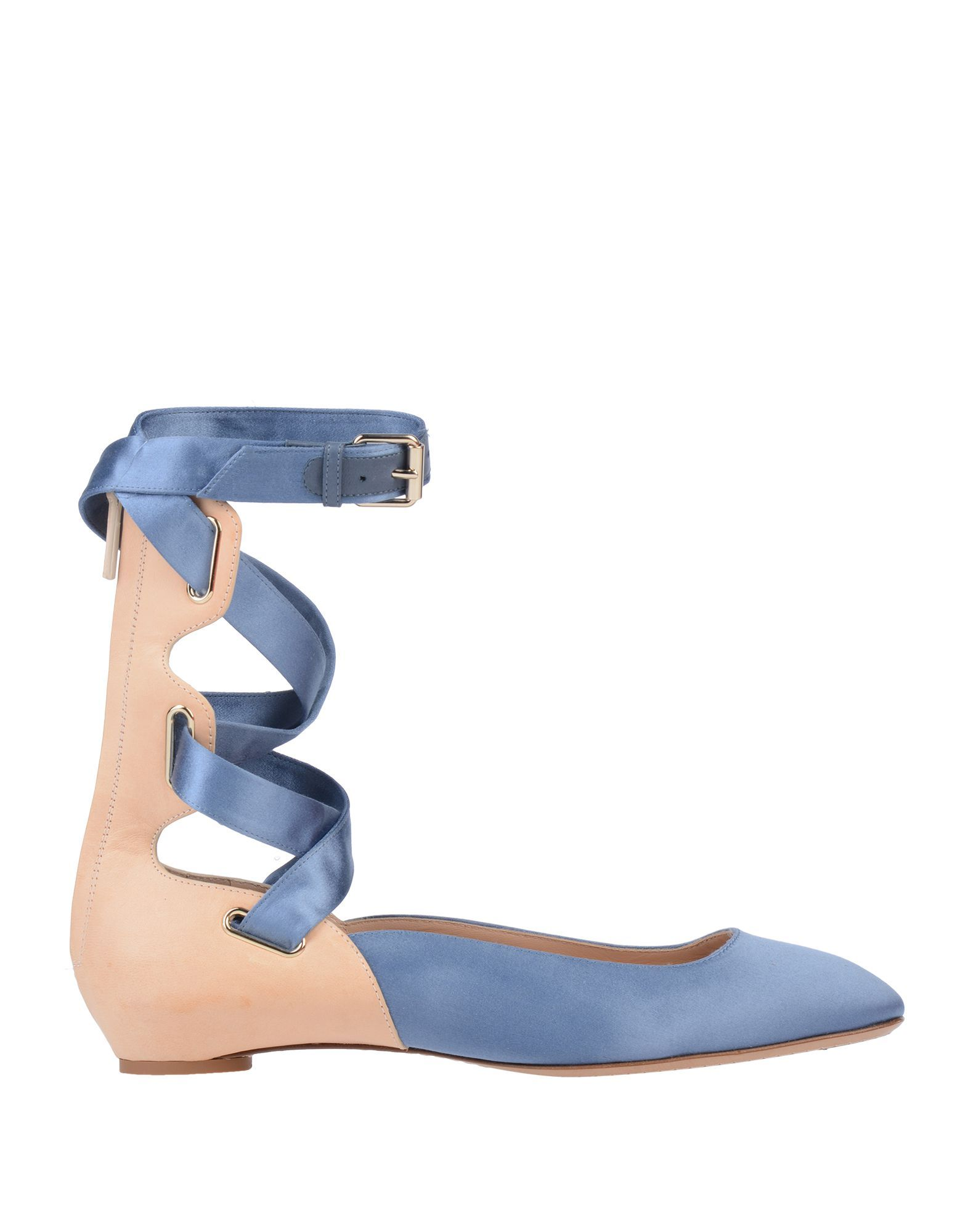 Valentino Garavani Slate Blue Leather Ballet Flats With Lace Up Detail