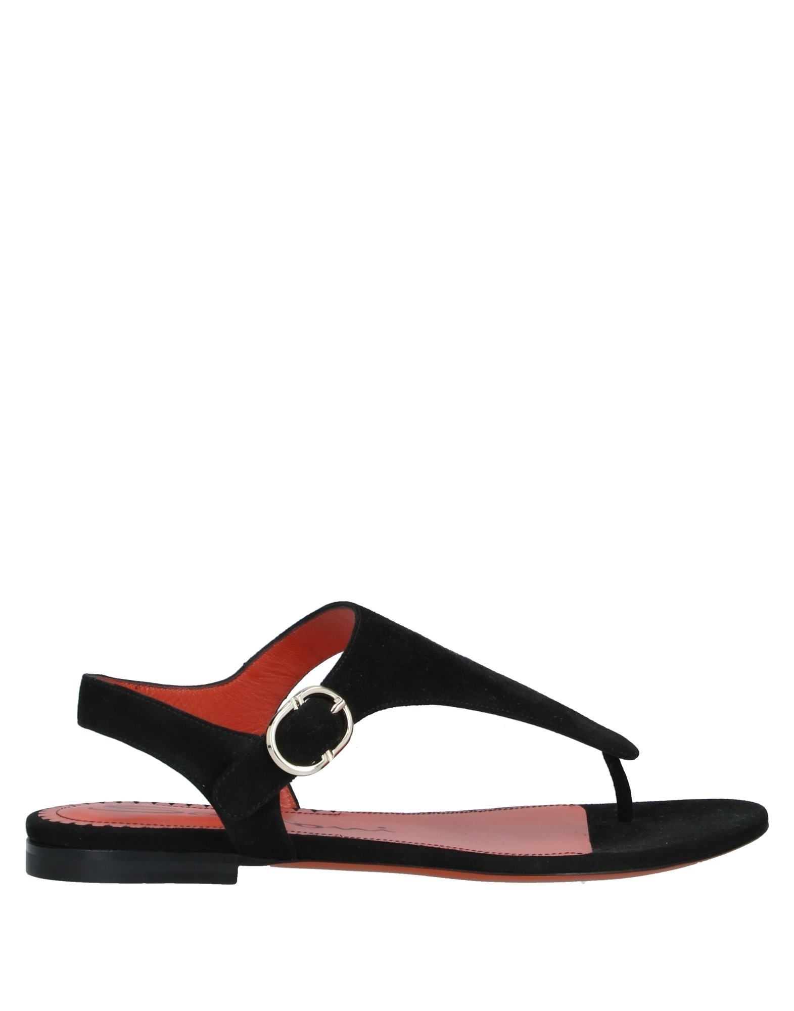 Santoni Women's Toe Post Sandals Black Leather