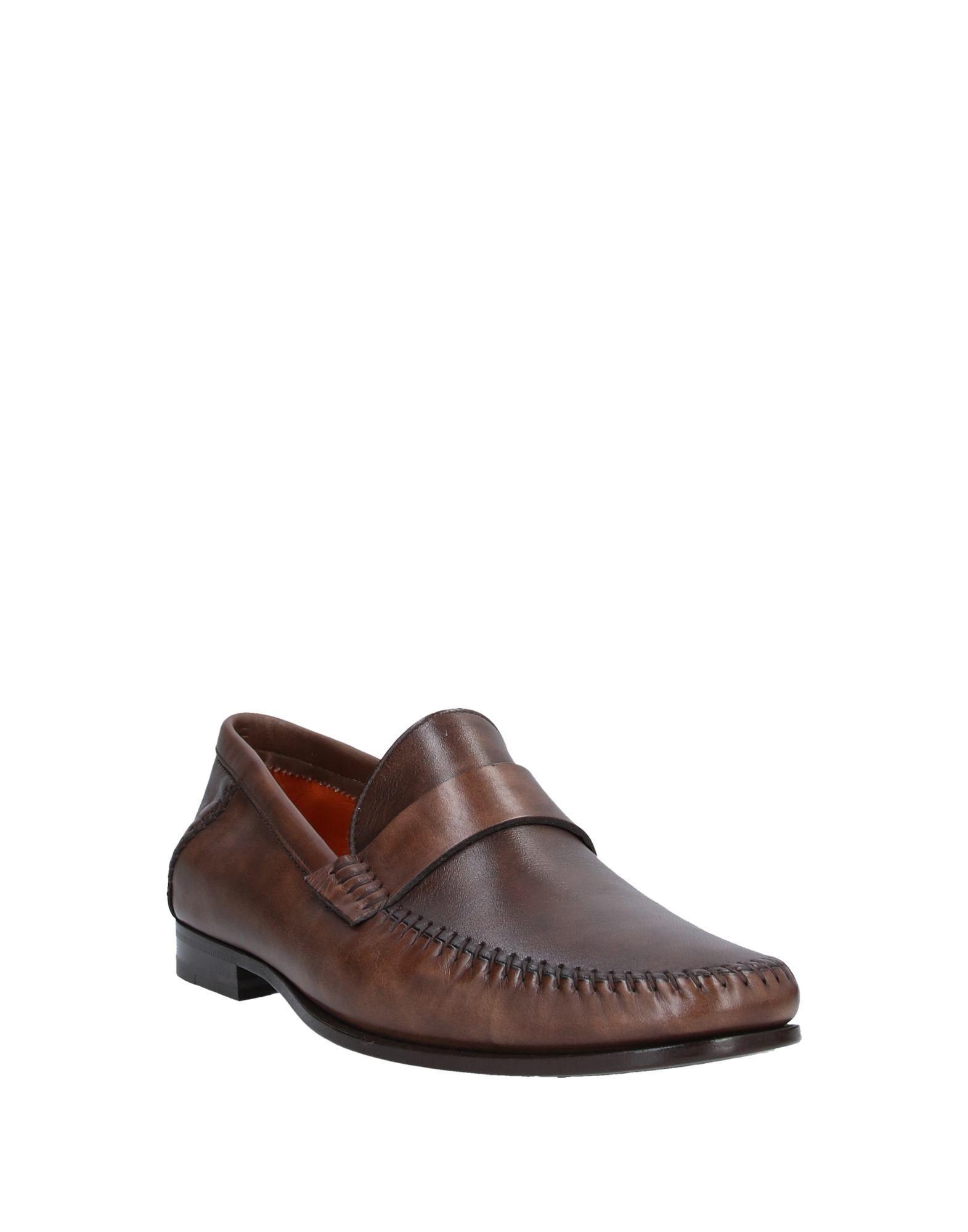 Santoni Dark Brown Leather Loafers
