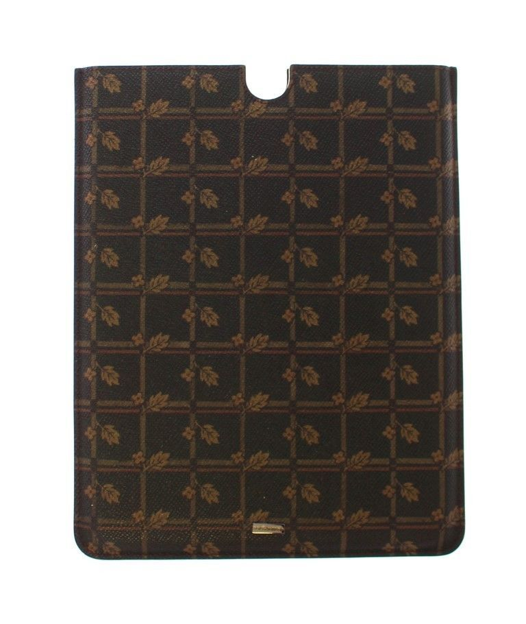 Dolce & Gabbana Brown Floral Logo Leather iPAD Tablet eBook Cover