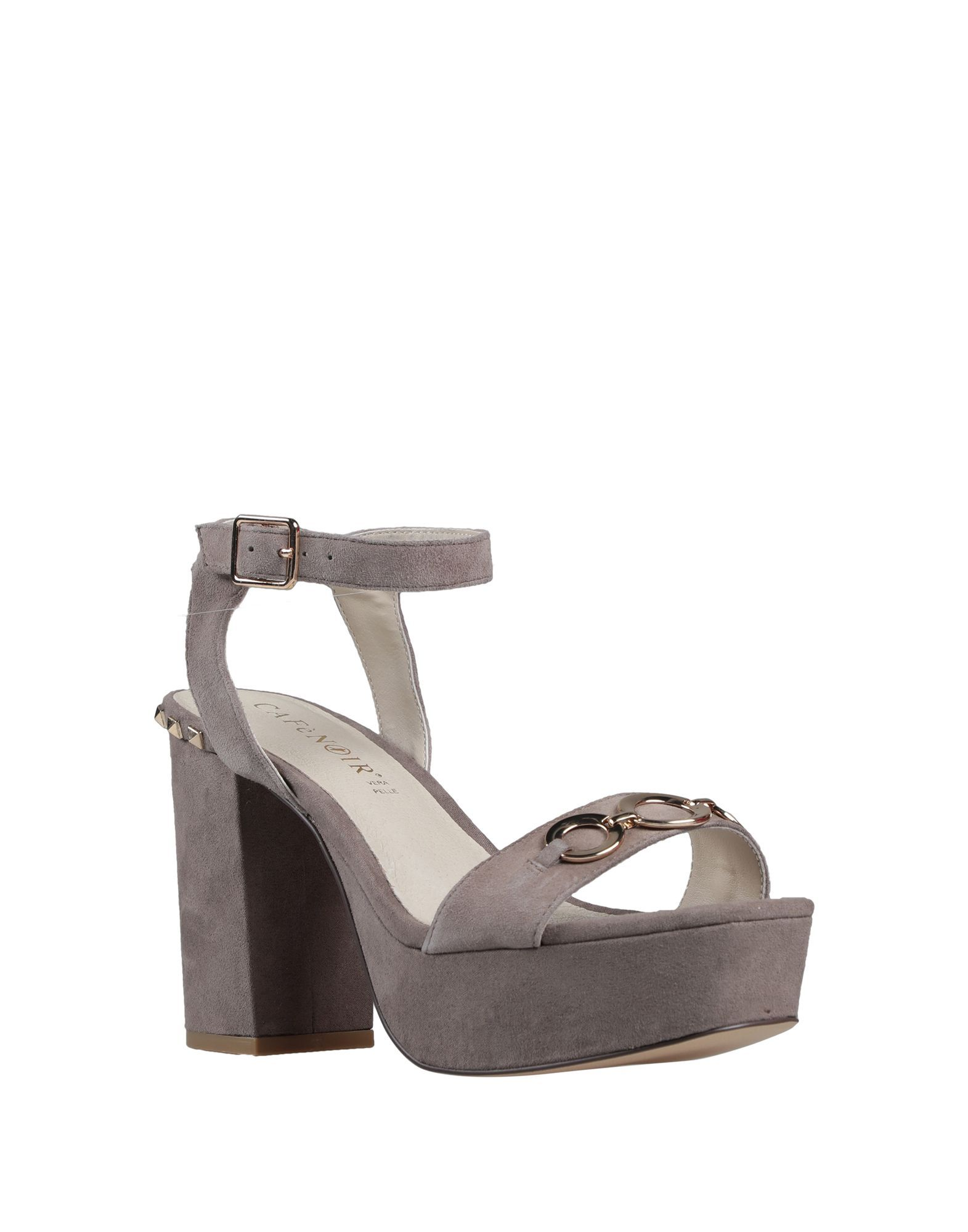 Cafenoir Grey Leather Studded Heeled Sandals
