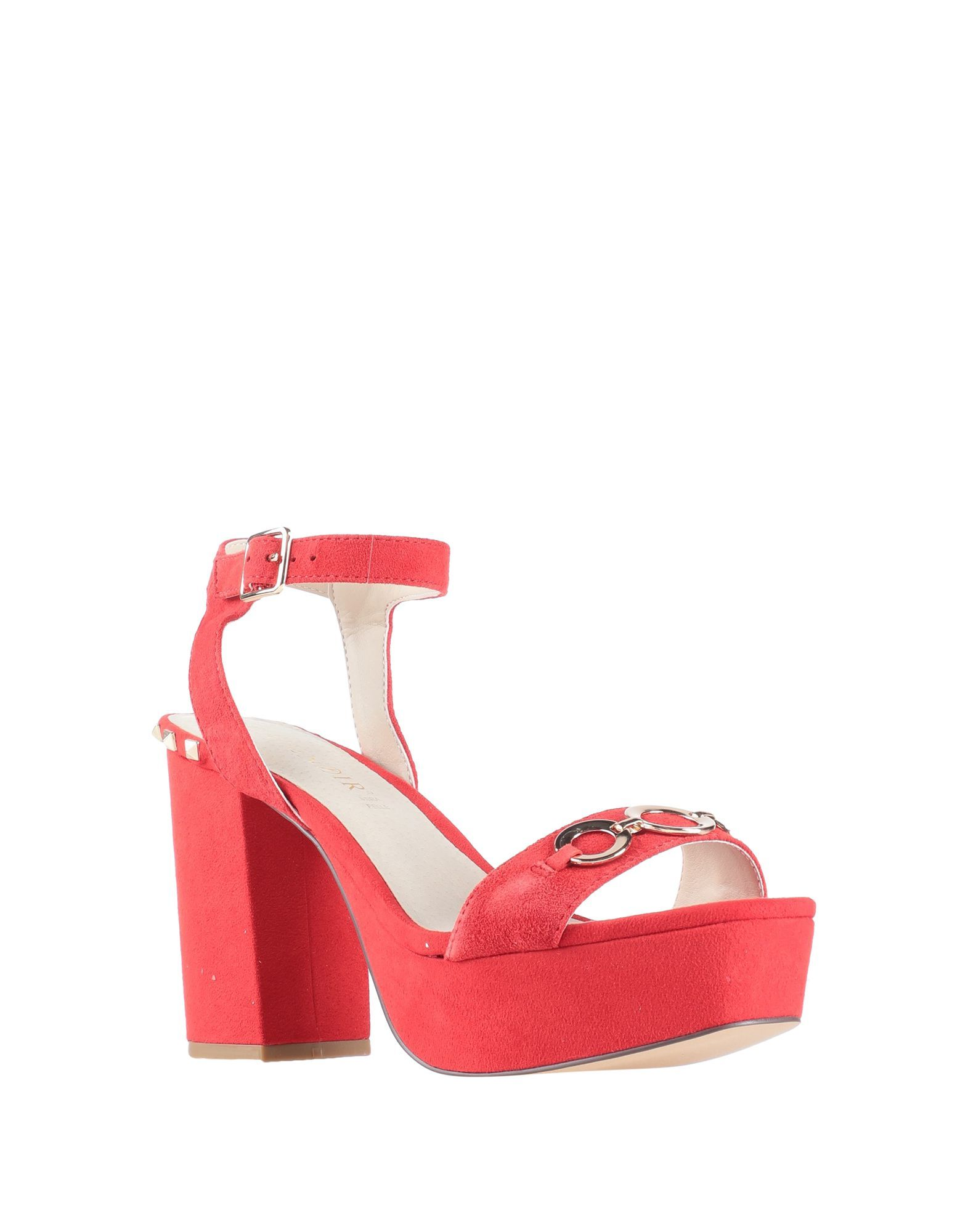 Cafenoir Red Leather Studded Heeled Sandals