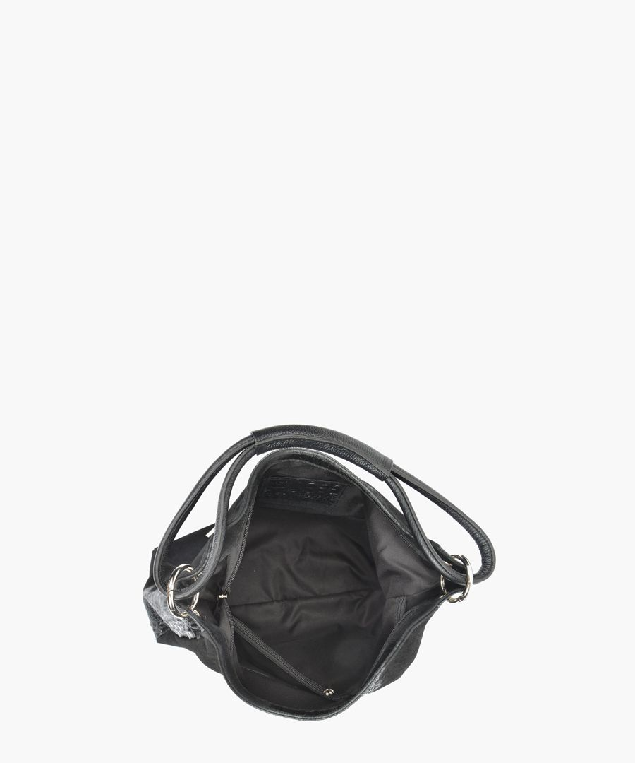 Black leather top handle bag